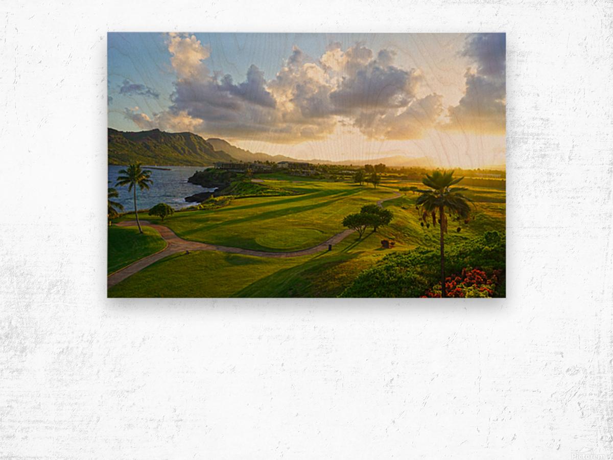 Sunset over Kukii Point on the Island of Kauai in Hawaii Wood print