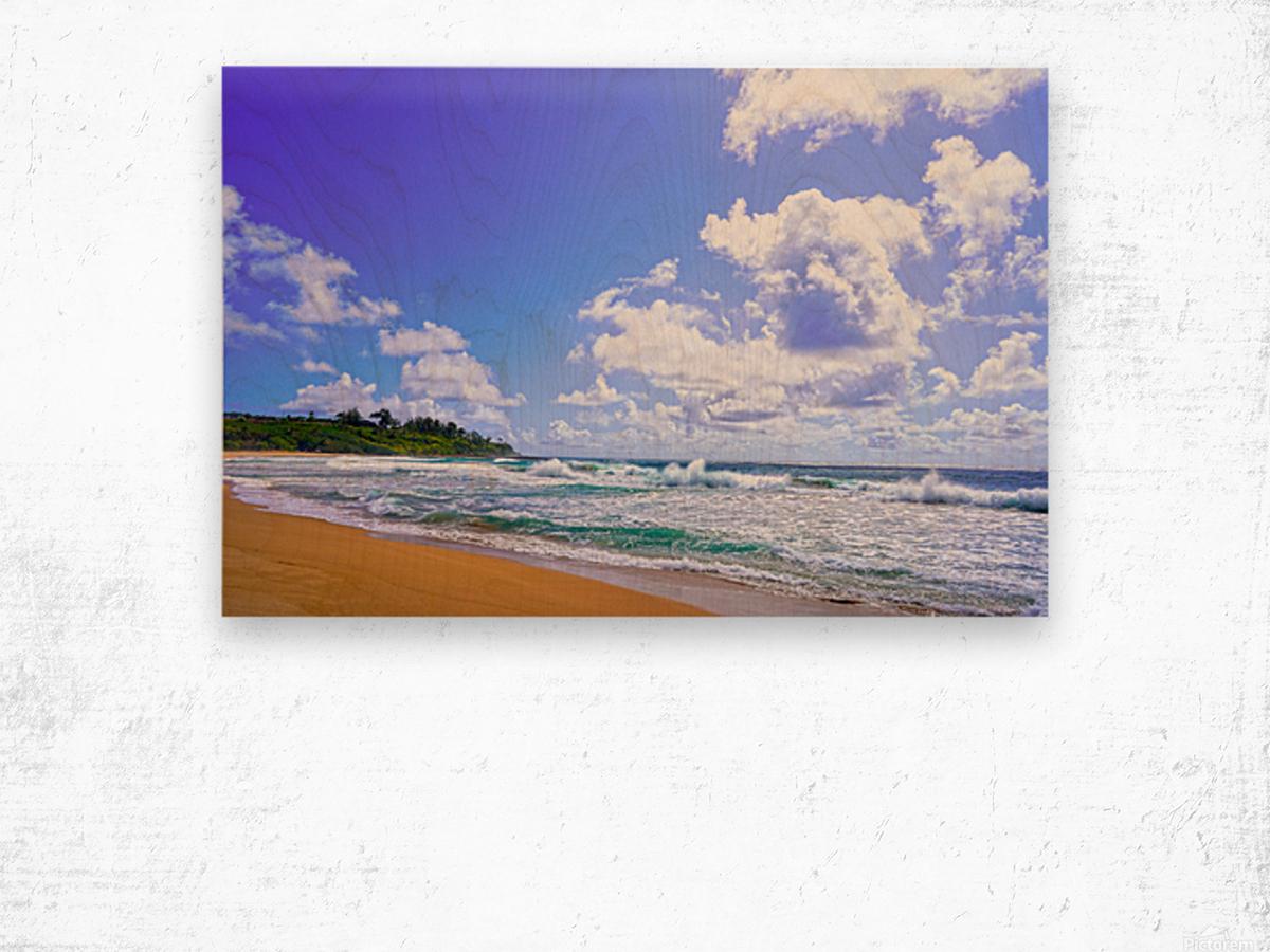 Wild Day at Wailua Beach on the Island of Kauai Wood print