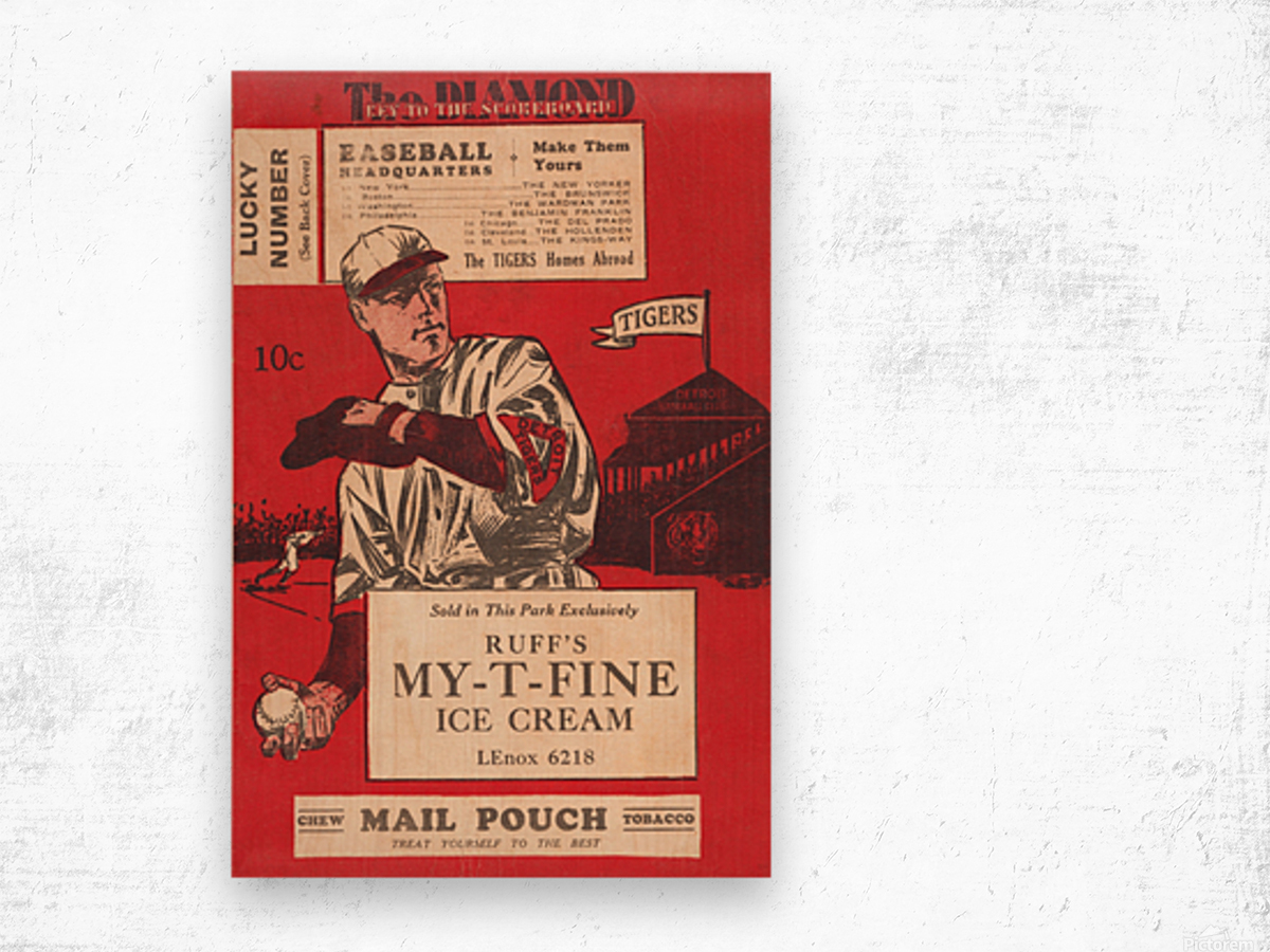 1933 Detroit Tigers Score Card Art Wood print