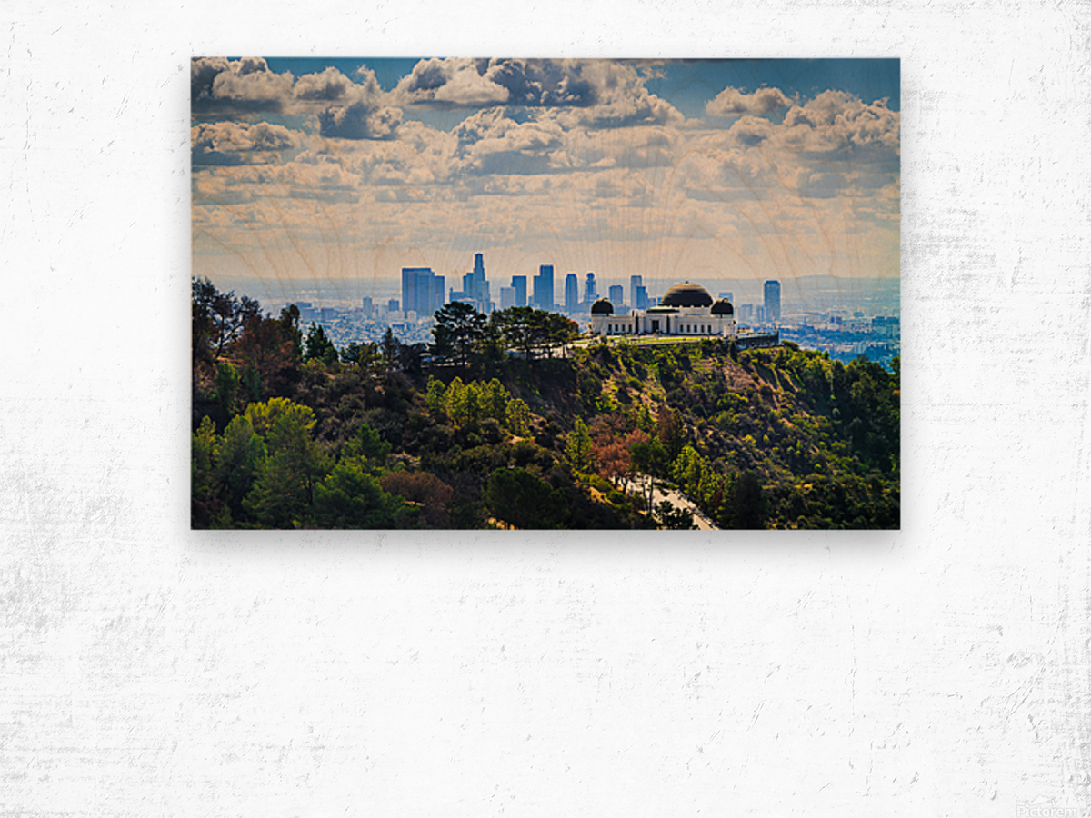 Overlooking Griffith Observatory Wood print