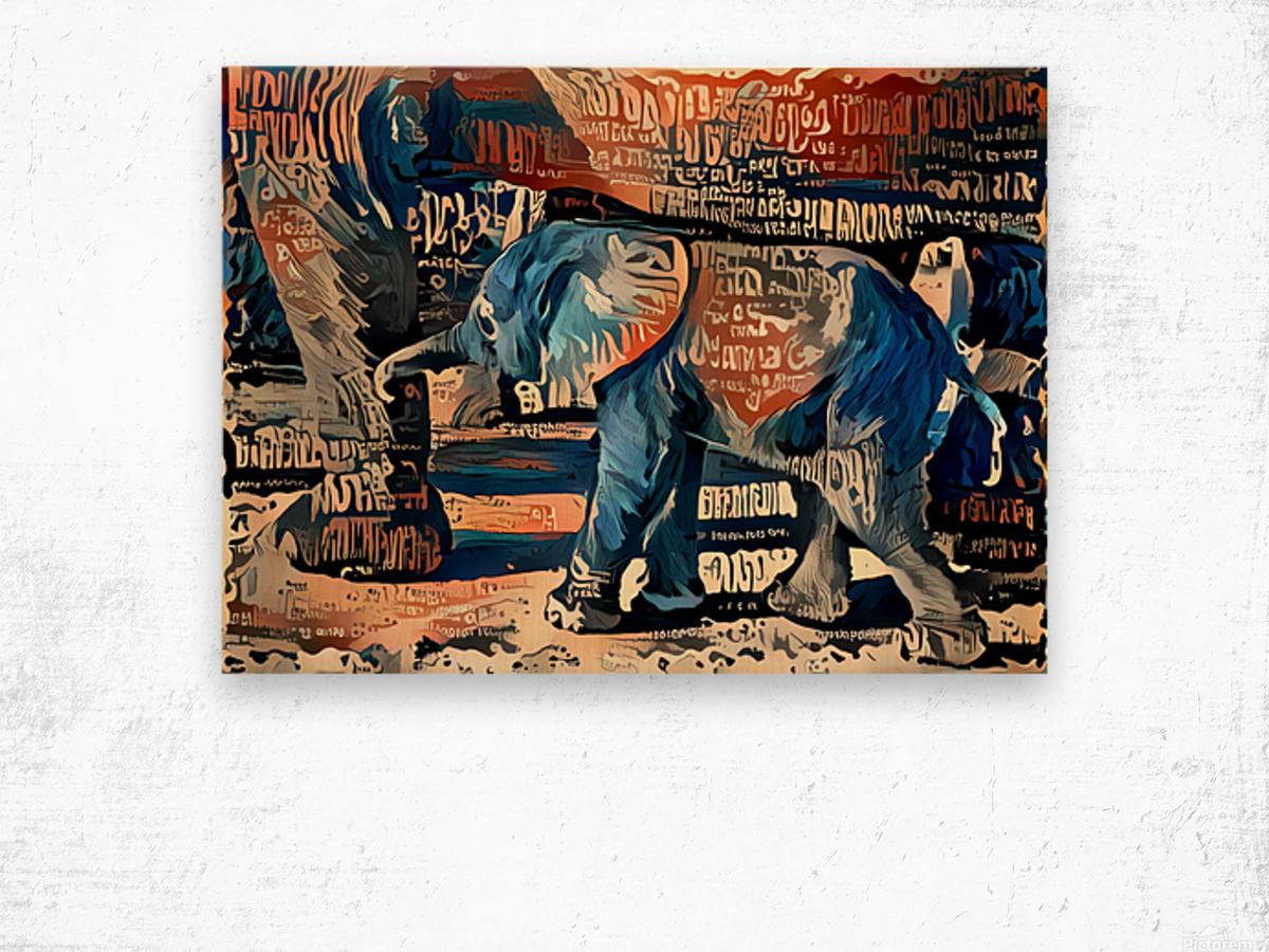 The Posterized Elephant Wood print