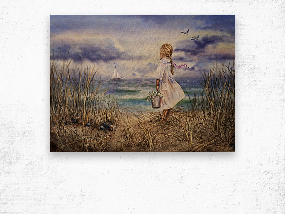 Girl At The Ocean Beach Art Painting Wood print