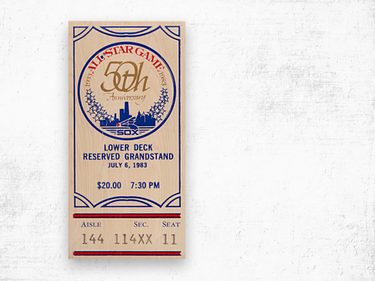 1983 Baseball All-Star Game Ticket Art Wood print