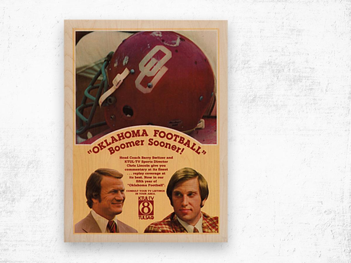 1977 Oklahoma Football Show Ad Barry Switzer  Wood print