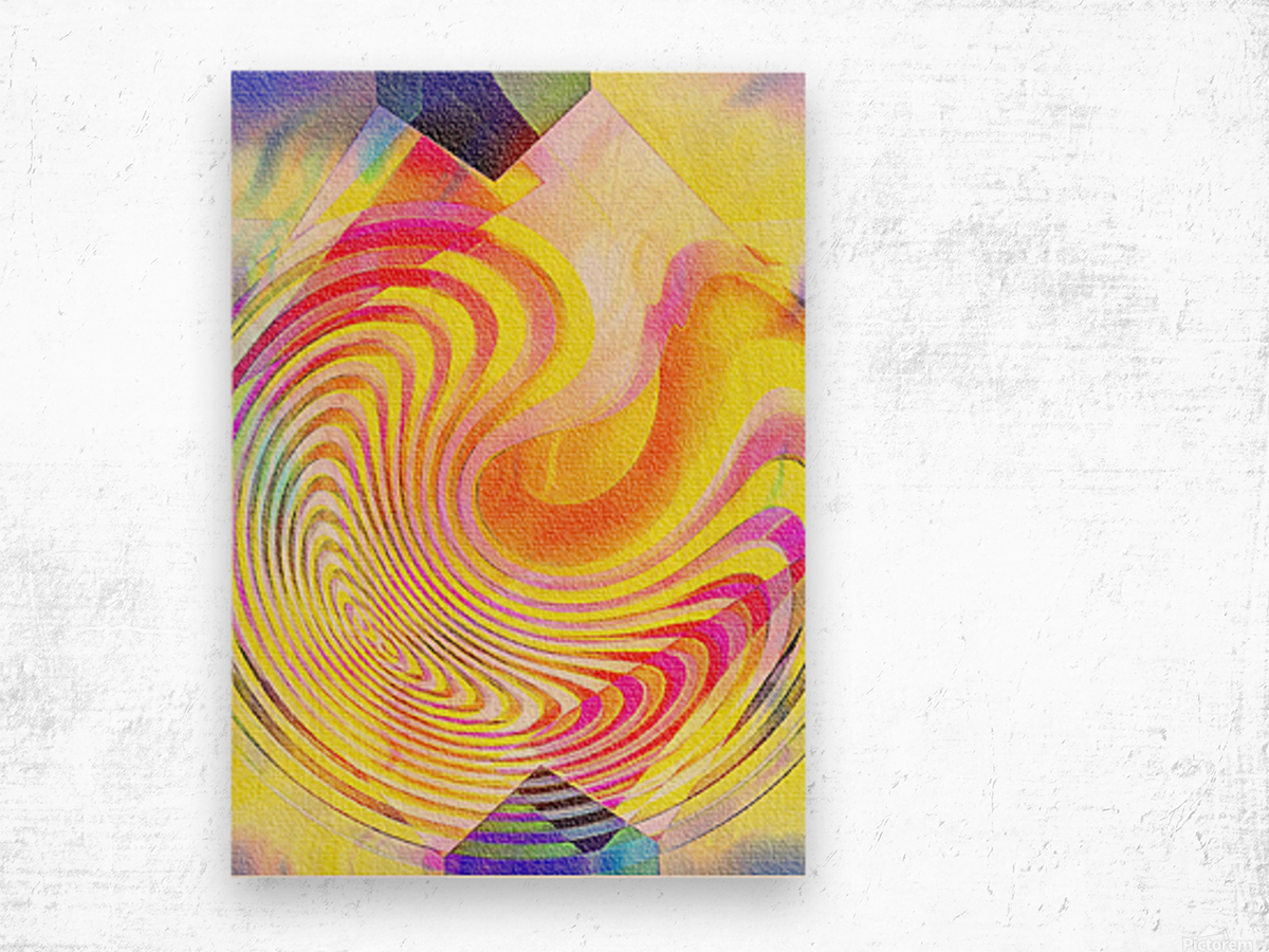 Multicolored Experimental Headache 21 Wood print