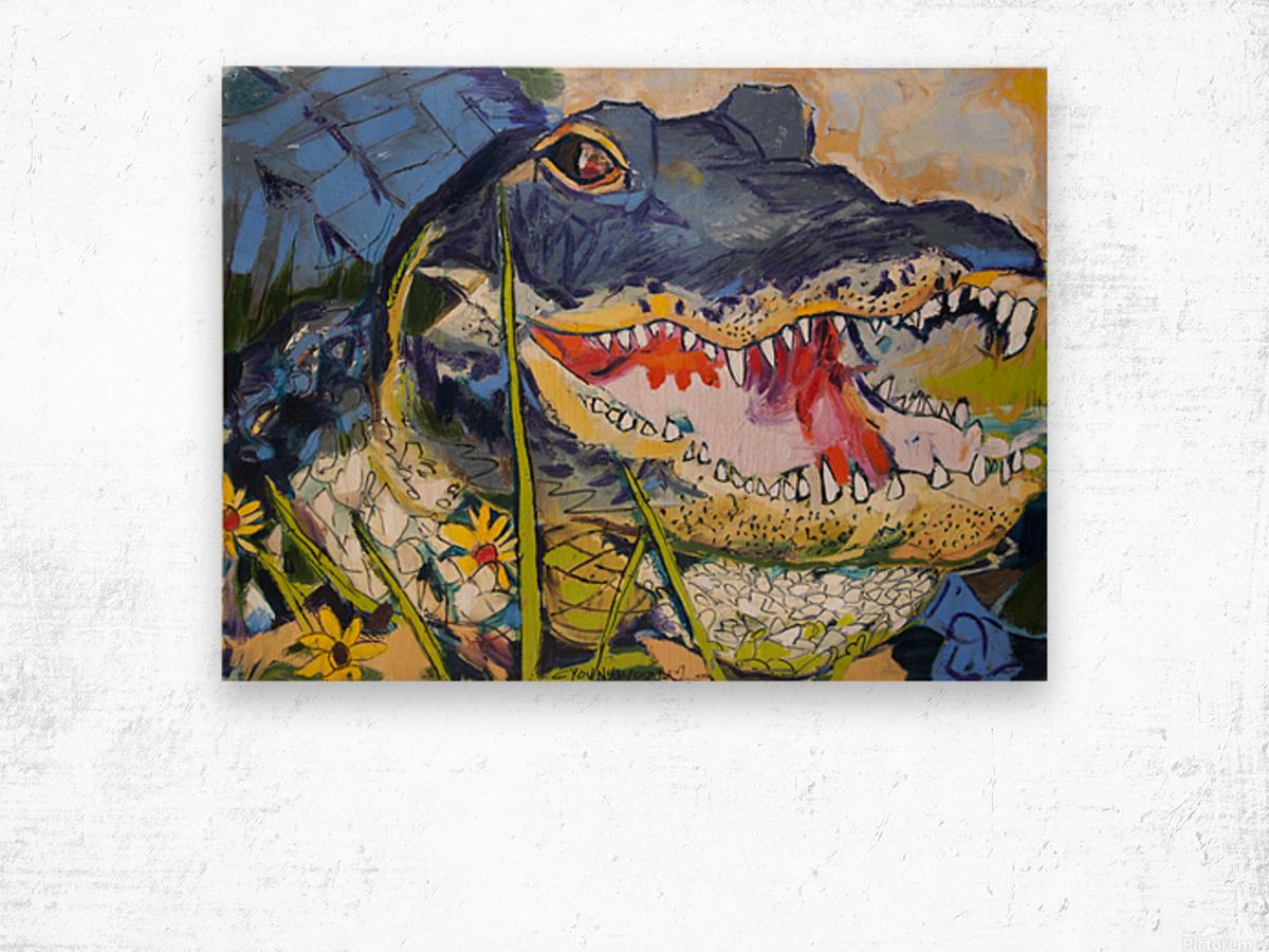 Louisiana Alligator with Wildflowers Wood print