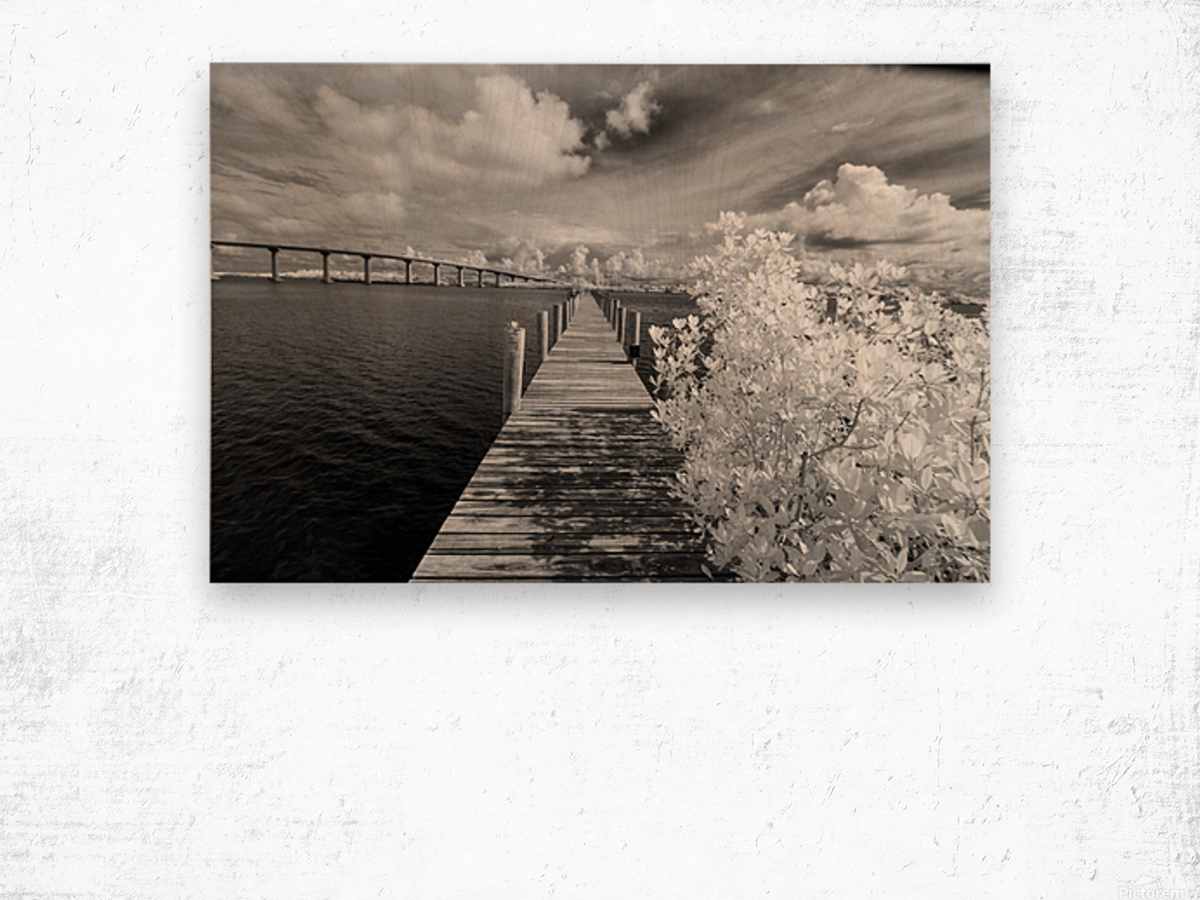 Wabasso Causeway Florida with boat dock Wood print