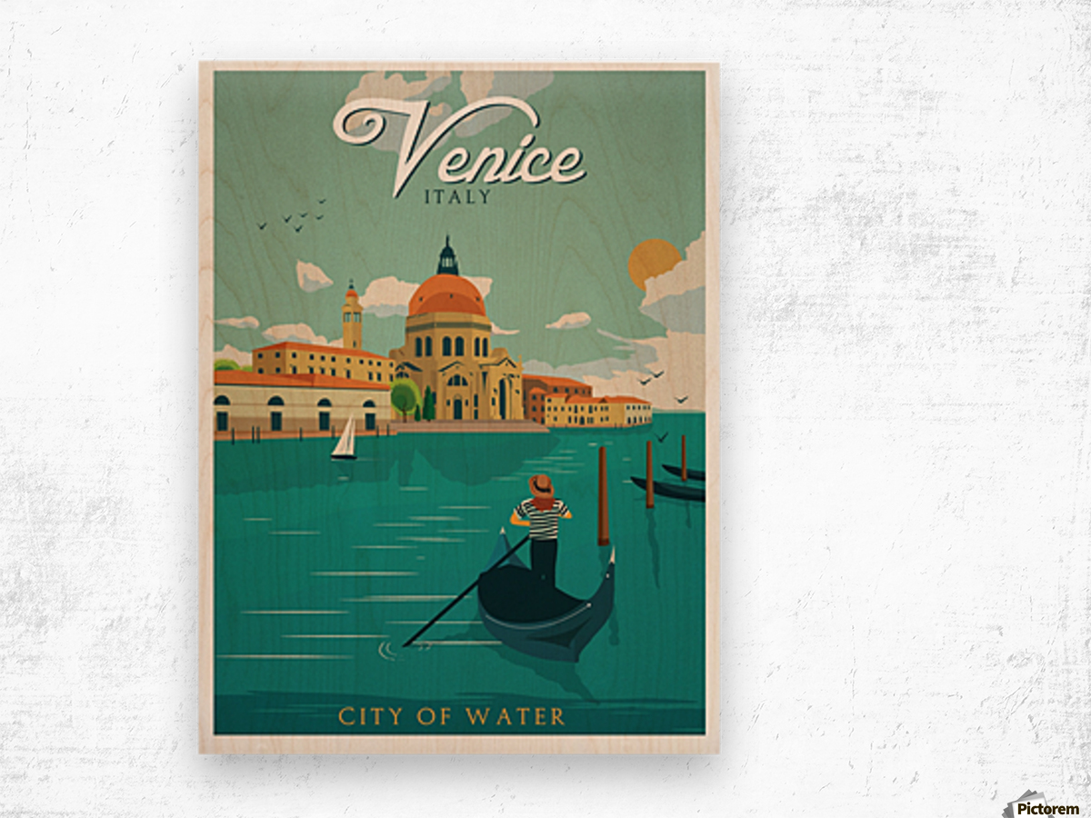 Venice Vintage Travel Poster Wood print