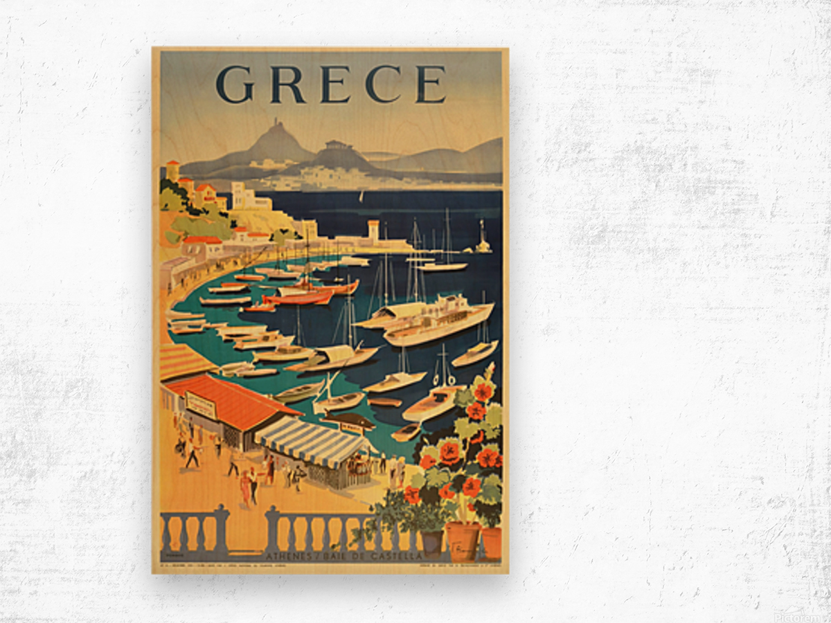 Greece original vintage travel poster Wood print