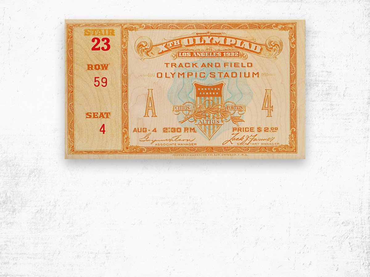 1932 Olympic Track and Field Ticket Stub Art Wood print