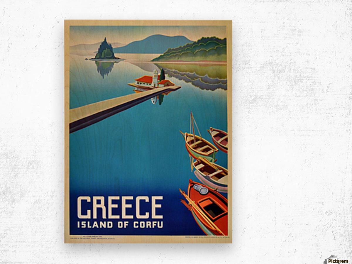 Island of Corfu, Greece Vintage Travel Poster Wood print