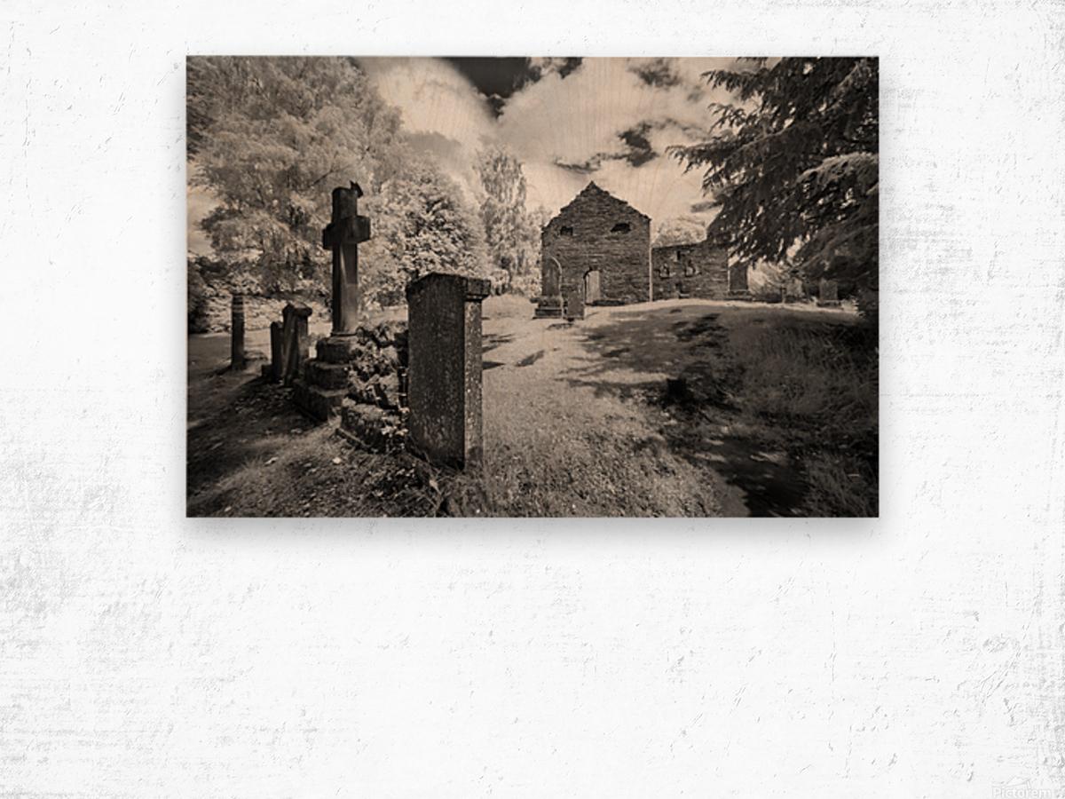 Infrared Scotland graveyard Wood print