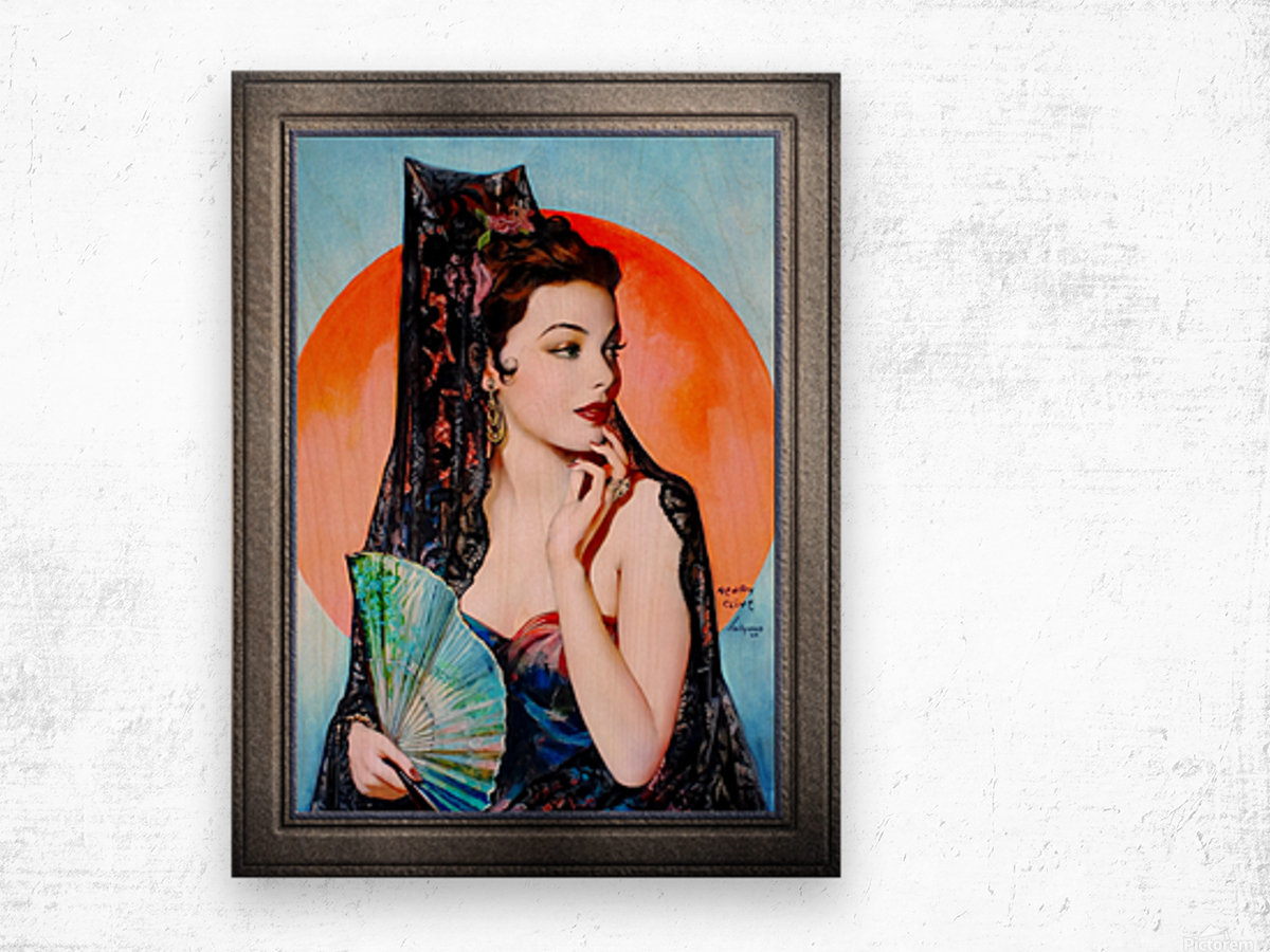 Gene Tierney as Lola Montez by Henry Clive Vintage Xzendor7 Old Masters Art Deco Reproductions Wood print