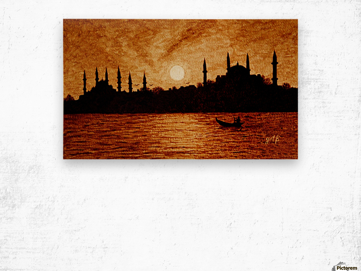 Sunset Over Istanbul Original Coffee Painting Wood print