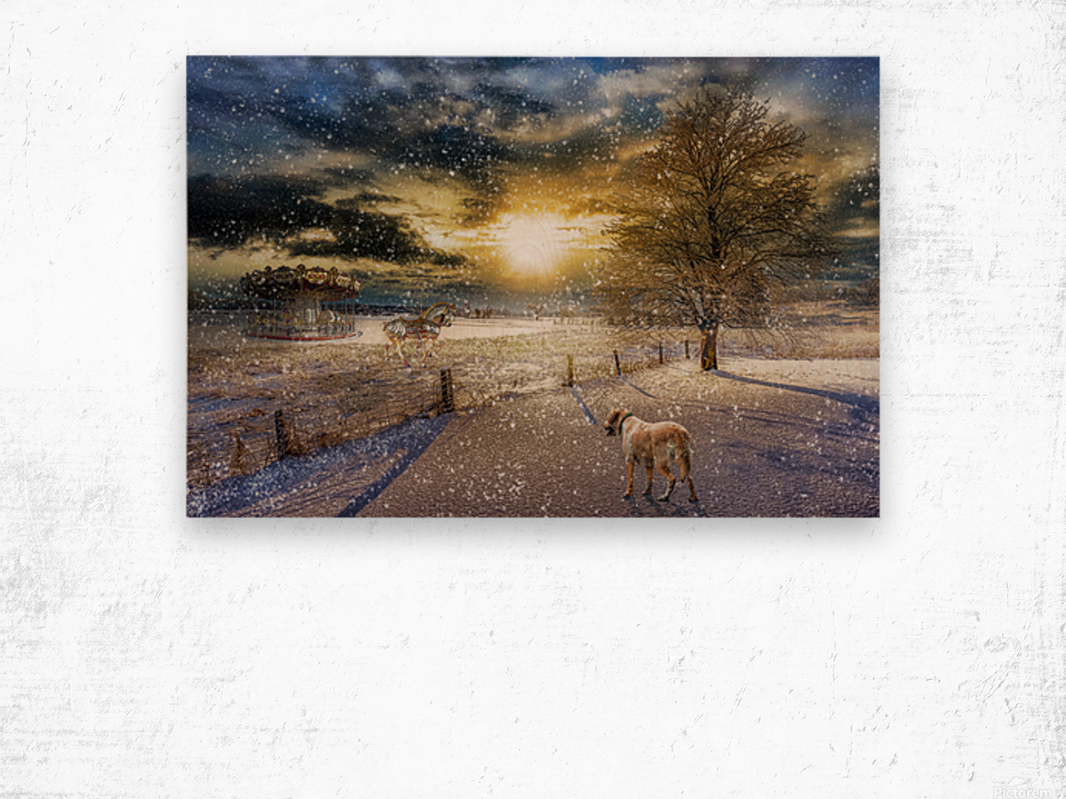 A Magical Winter Night Wood print