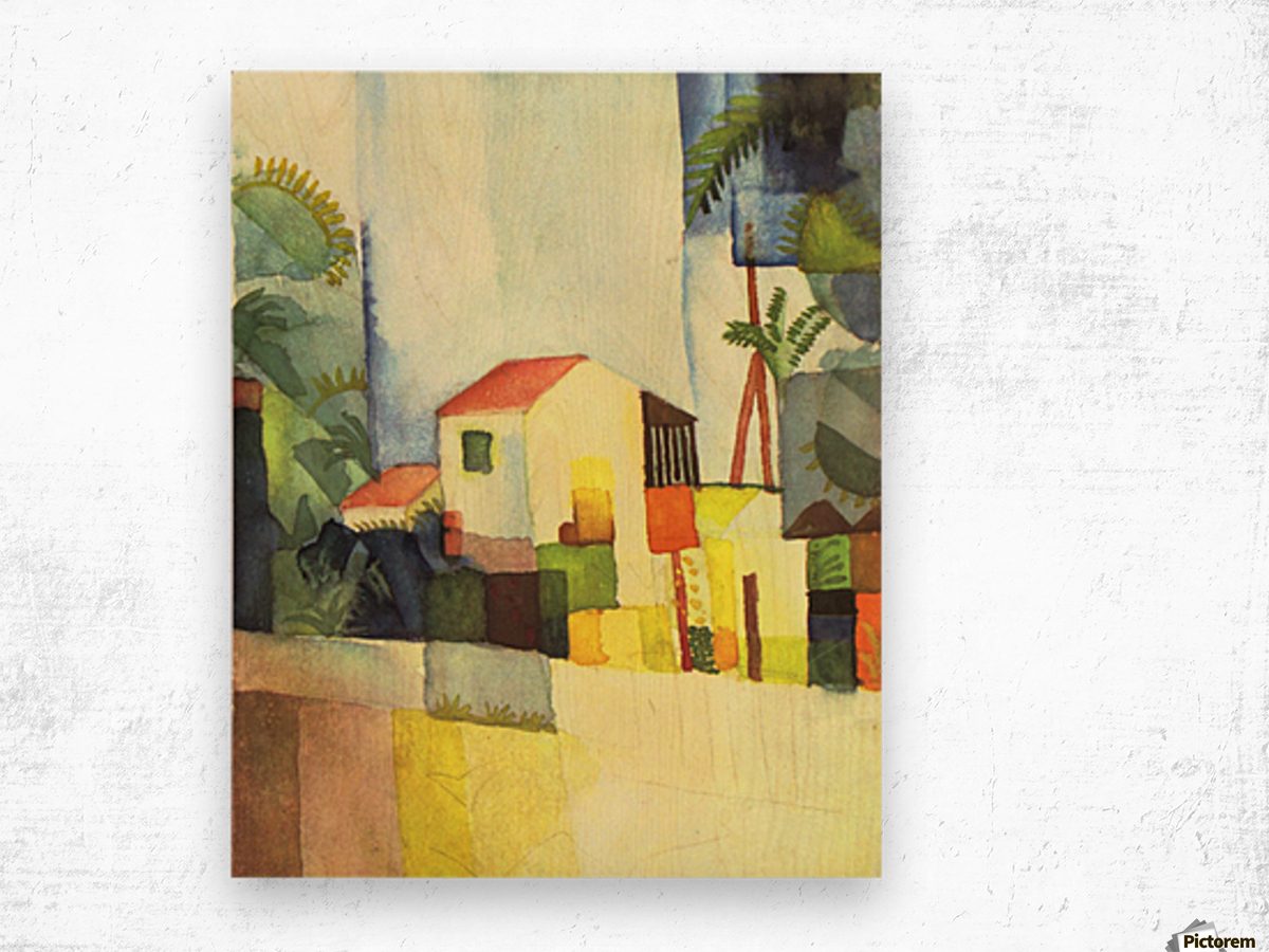 Bright house by August Macke Wood print