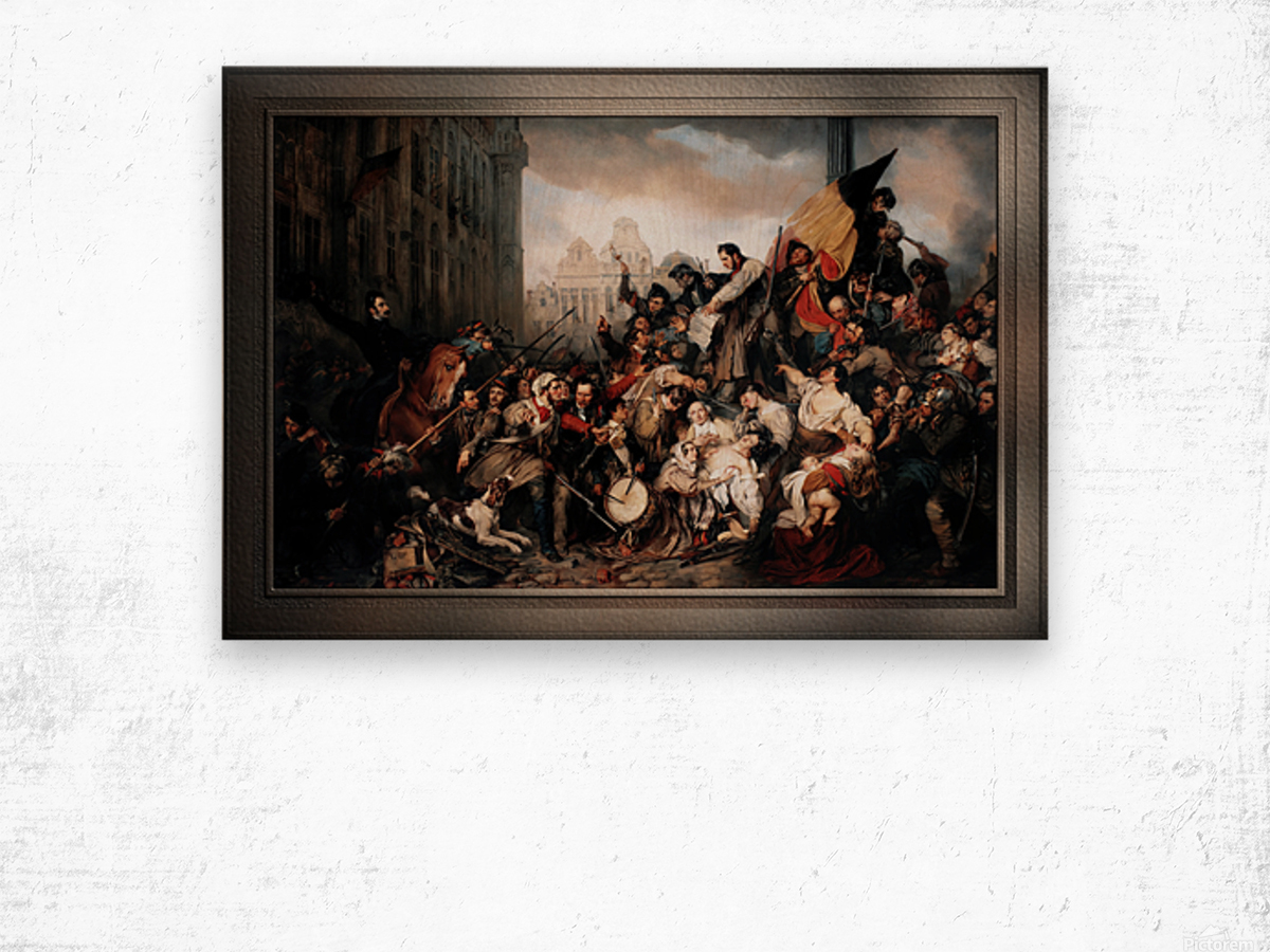 Episode of the September Days 1830 by Gustave Wappers Classical Fine Art Xzendor7 Old Masters Reproductions Wood print