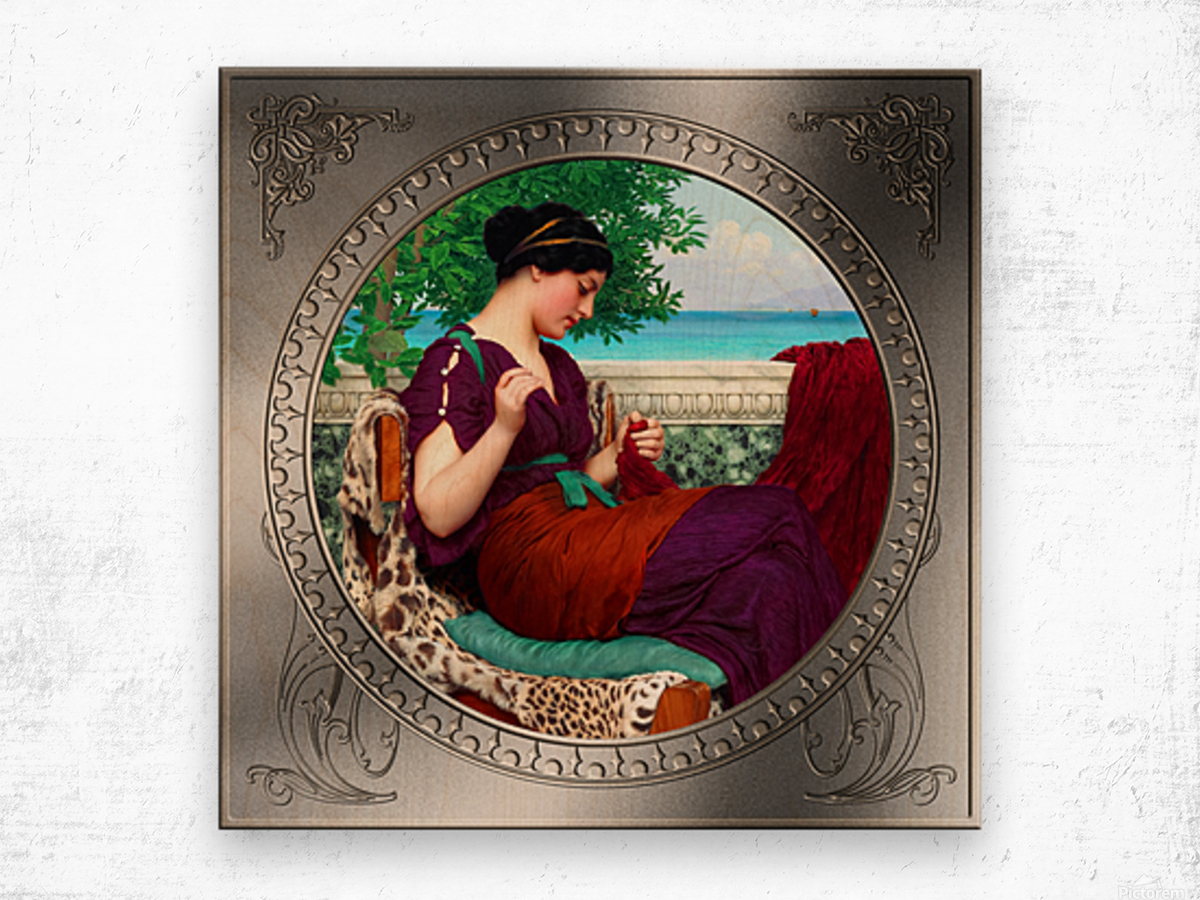 Far Away Thoughts c1911 by John William Godward Classical Fine Art Xzendor7 Old Masters Reproductions Wood print