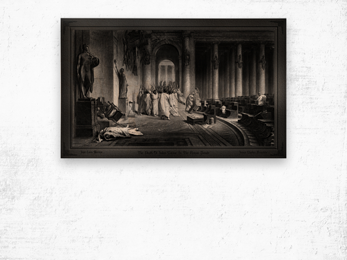 The Death Of Julius Caesar In The Roman Senate Engraving by James Charles Armytage Classical Fine Art Xzendor7 Old Masters Reproductions Wood print