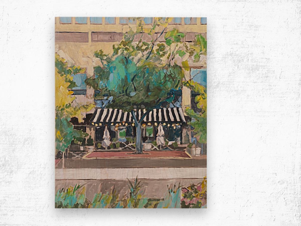 Street Cafe Downtown Baltimore Wood print