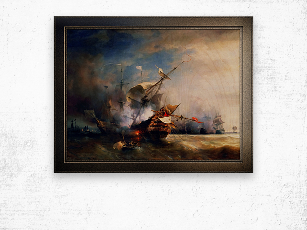 Battle of Cape Lizard in 1707 by Jean Antoine Theodore Gudin Classical Fine Art Xzendor7 Old Masters Reproductions Wood print