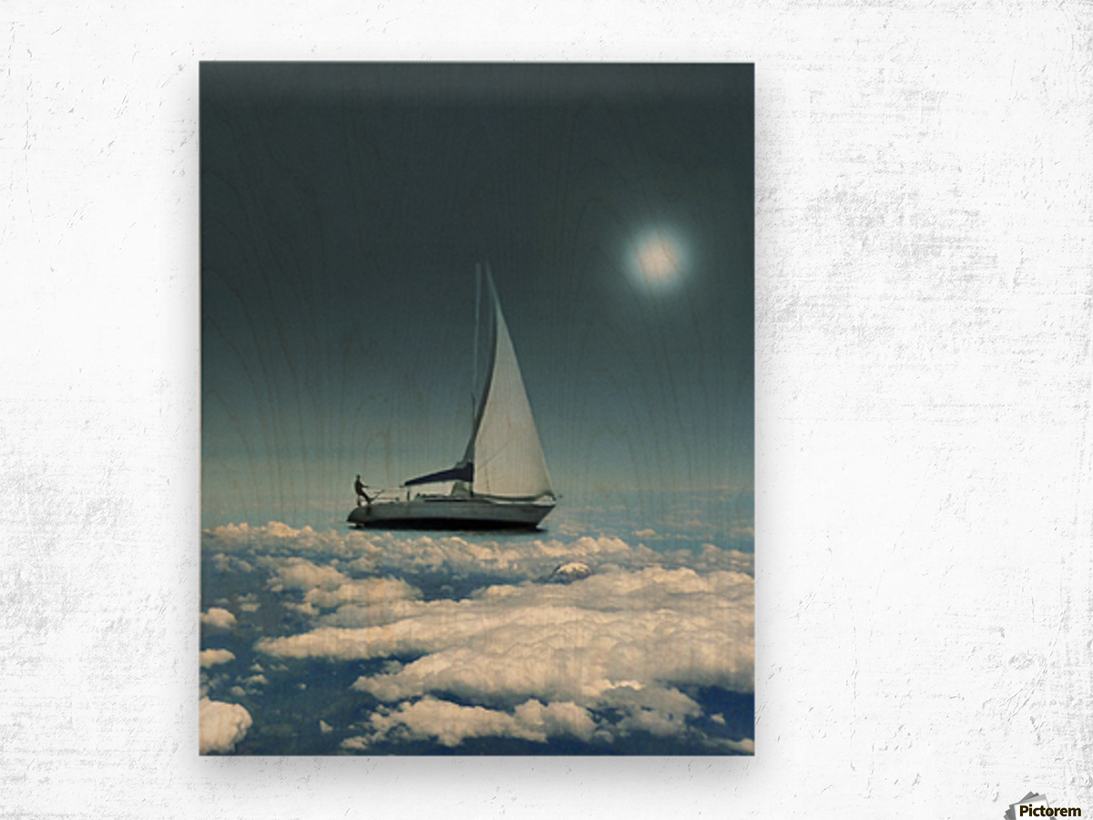 Navigating Trough Clouds Fantasy Collage Photo Wood print