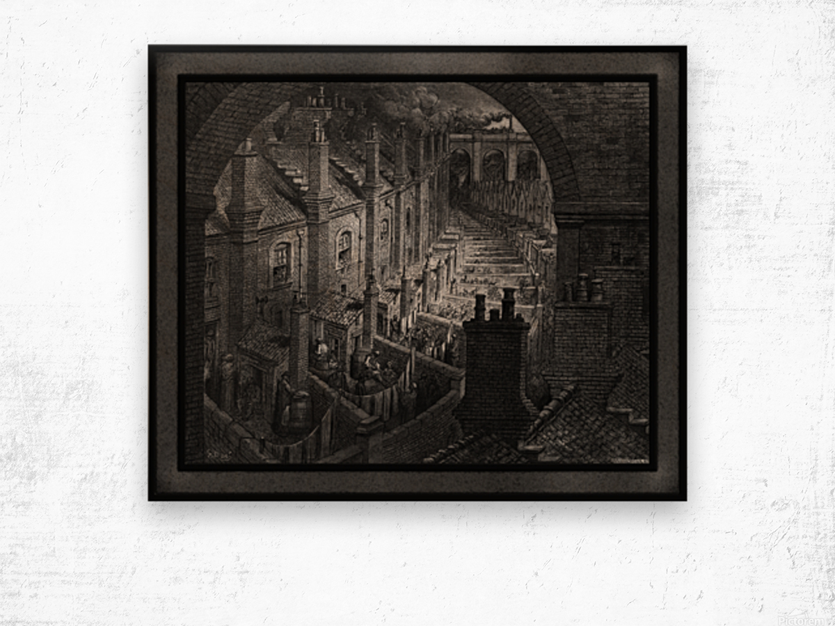 Over London by Rail by Gustave Dore Classical Fine Art Xzendor7 Old Masters Reproductions Wood print