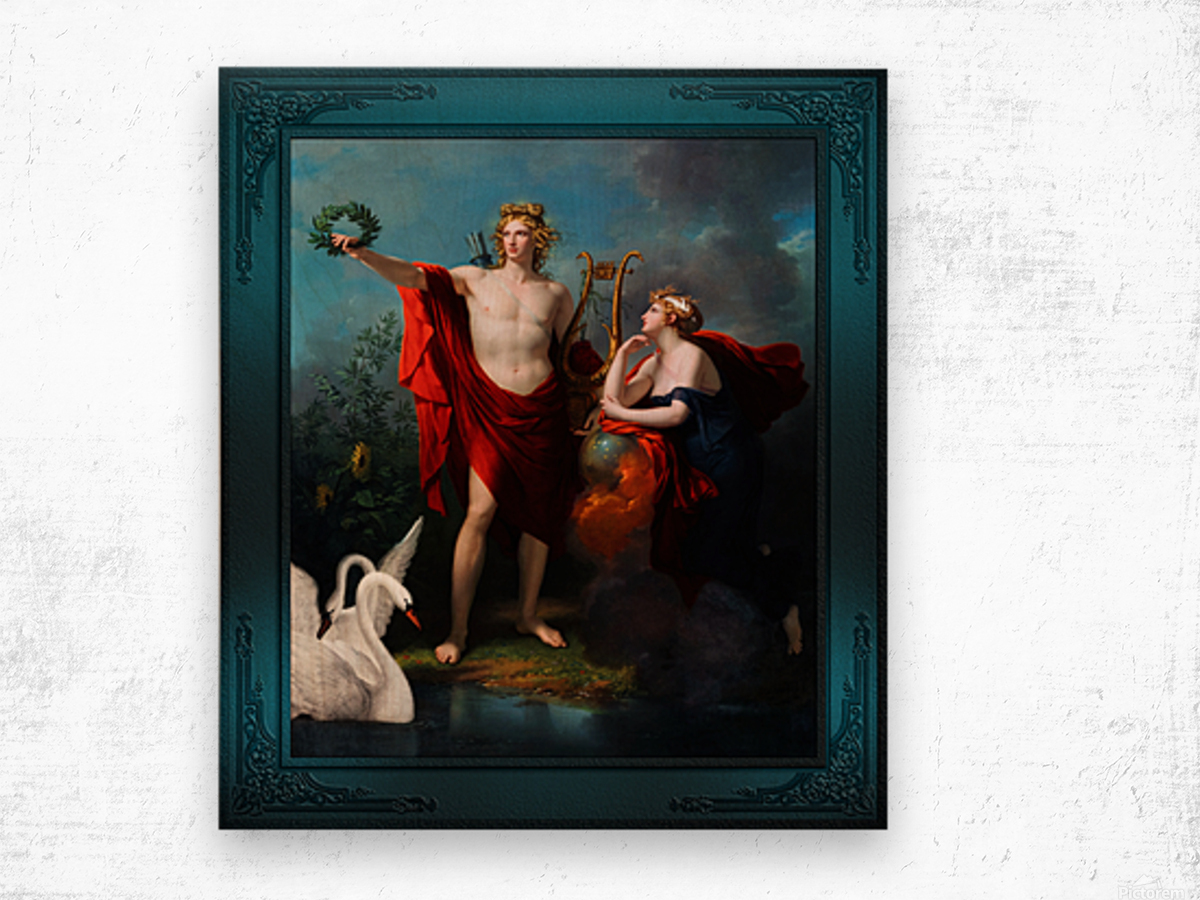 Apollo God of Light with Urania Muse of Astronomy by Charles Meynier Classical Fine Art Xzendor7 Old Masters Reproductions Wood print