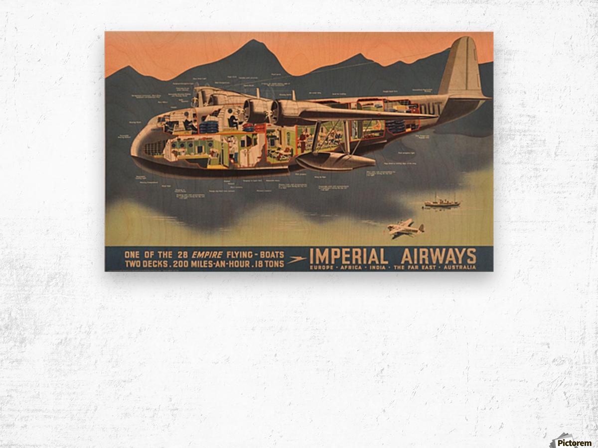 Original Vintage Travel Advertising Poster for Imperial Airways Empire Wood print