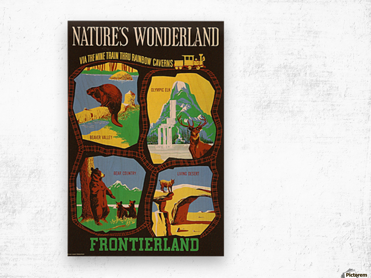 Frontierland Natures Wonderland attraction poster Wood print