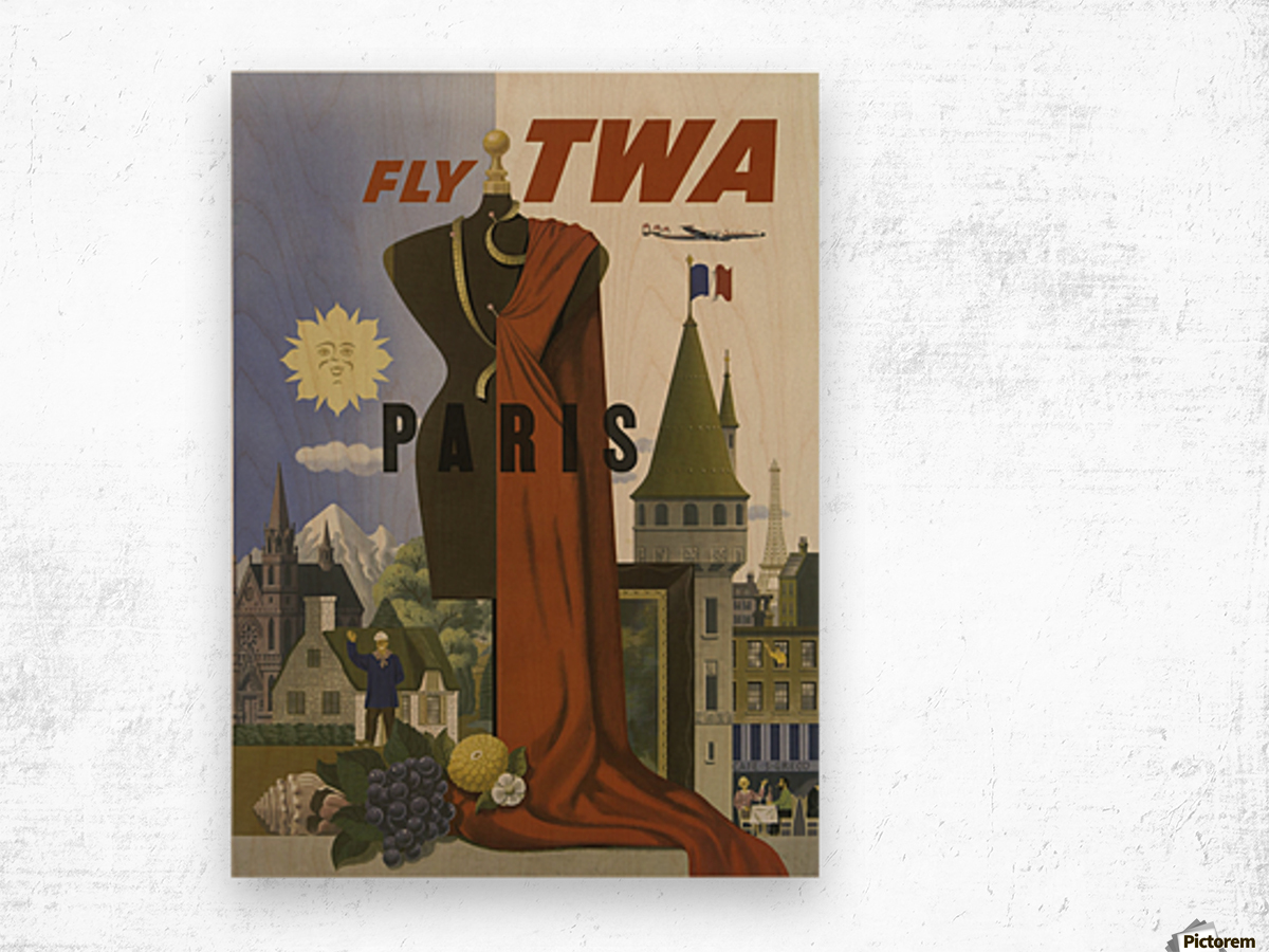 Fly TWA Paris Tourism Poster Impression sur bois