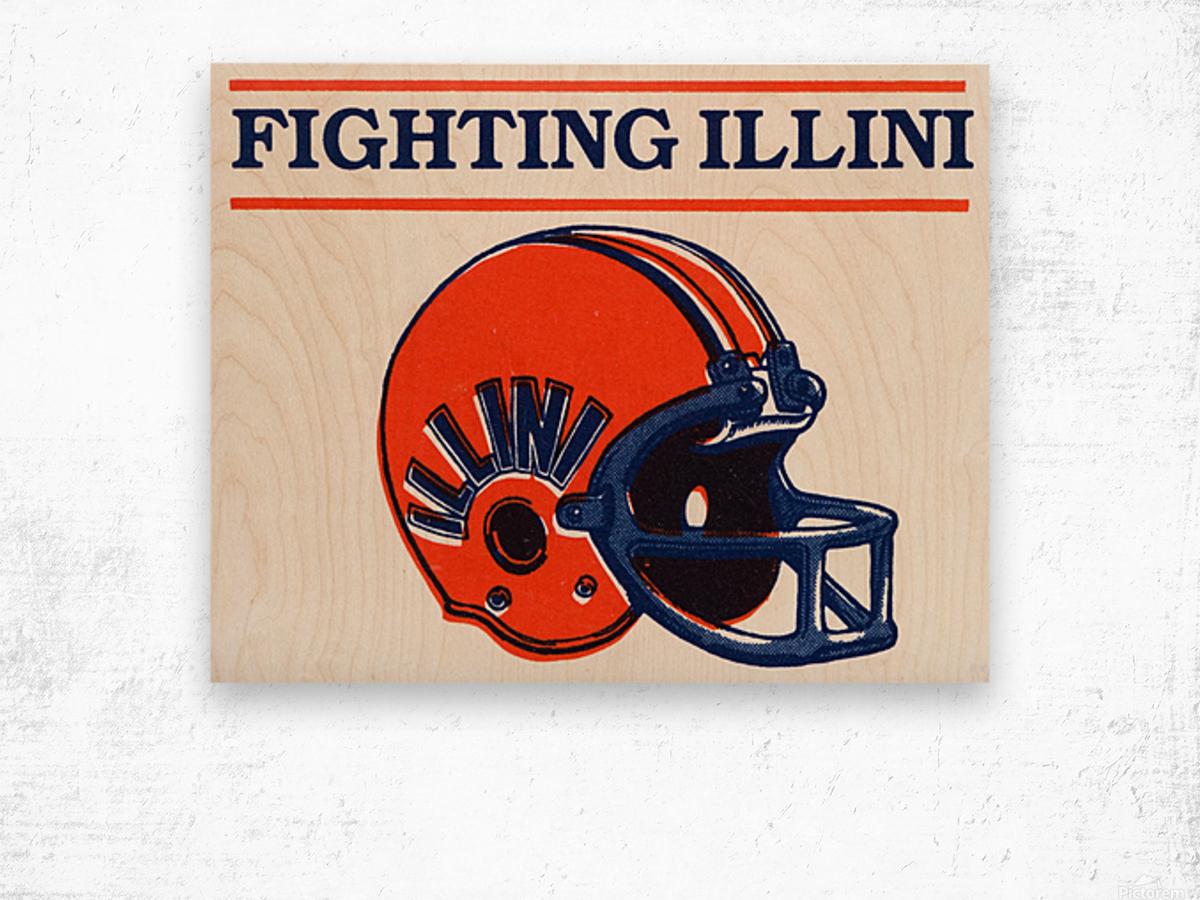 Retro Illinois Football Helmet Art Wood print