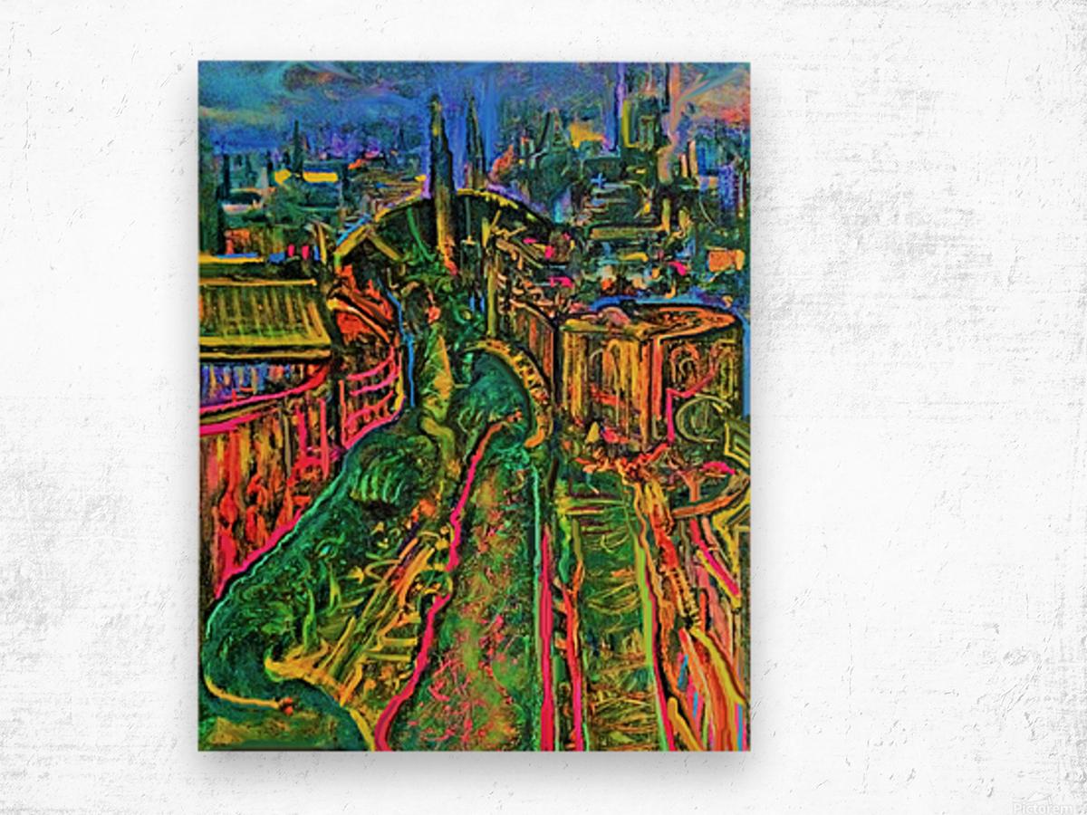 Vegetarian City Art Print Wood print