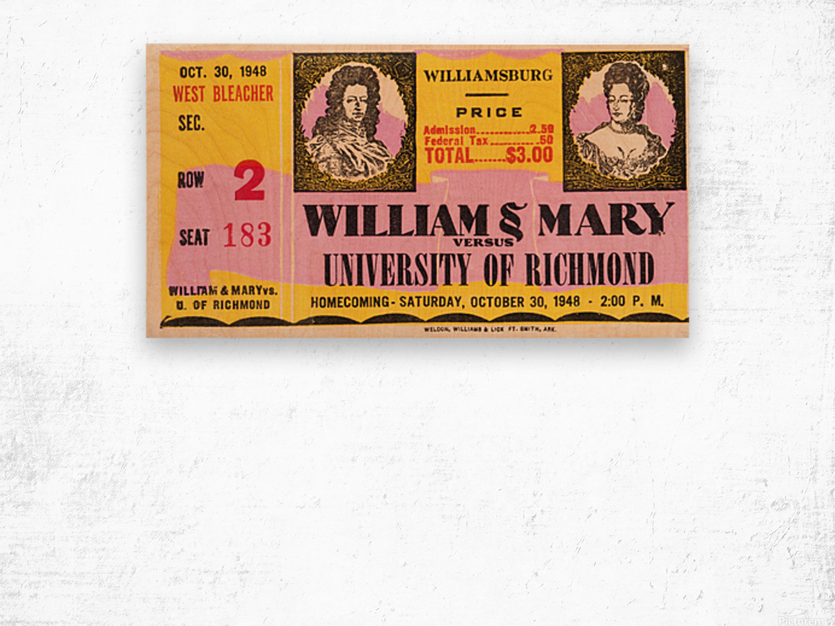 1948 William and Mary vs. Richmond Wood print