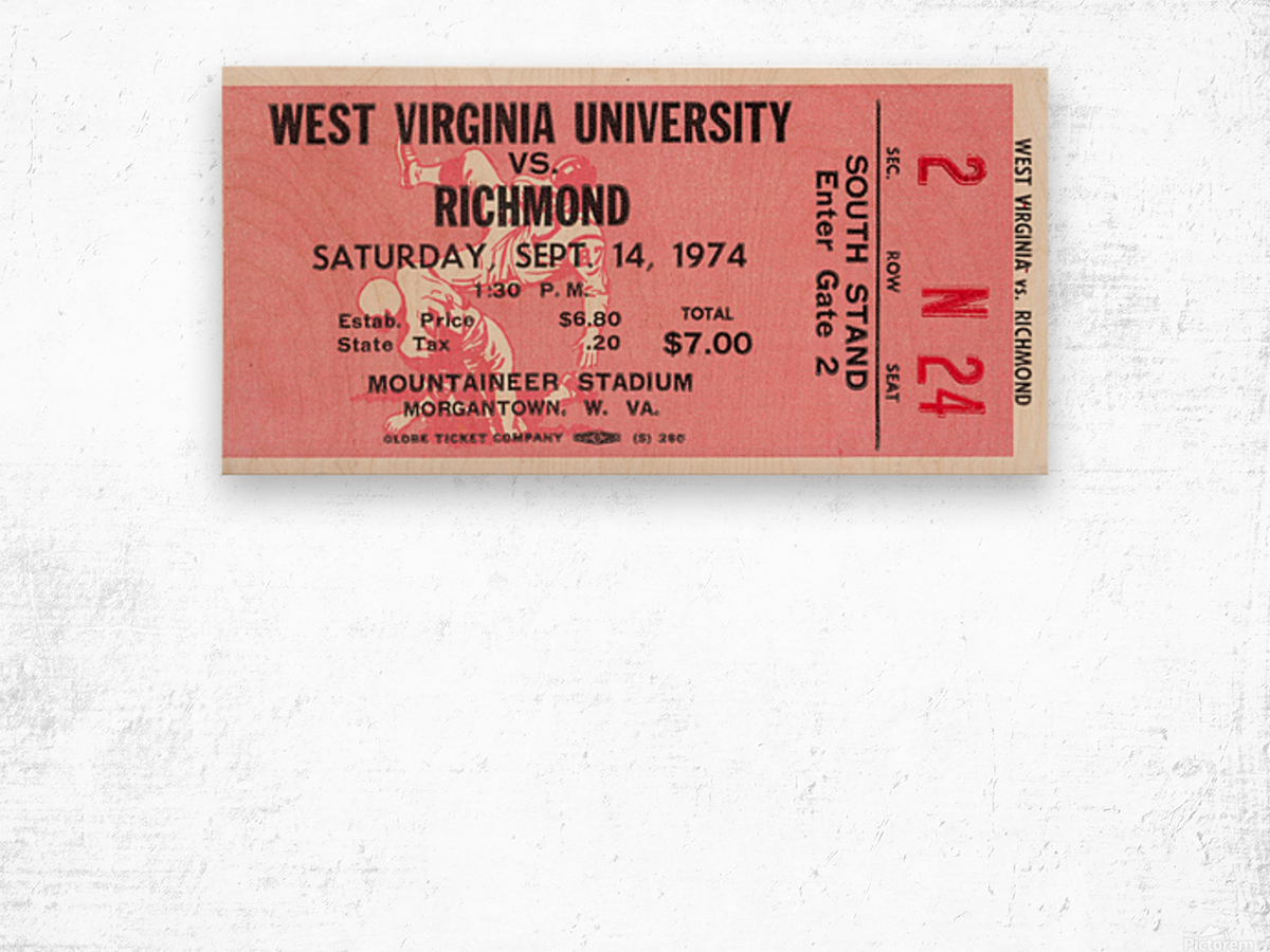 1974 West Virginia Mountaineers vs. Richmond Spiders Wood print