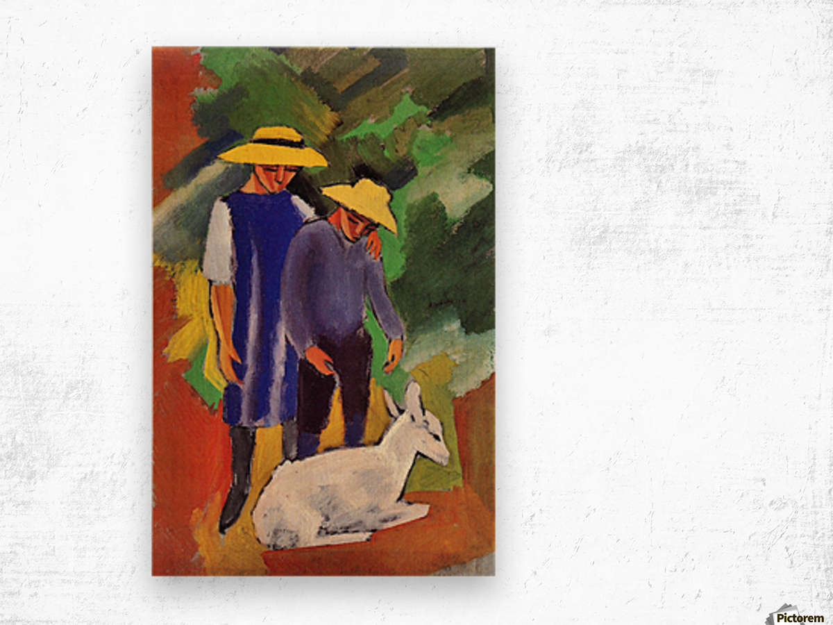 Children with goat by August Macke Wood print