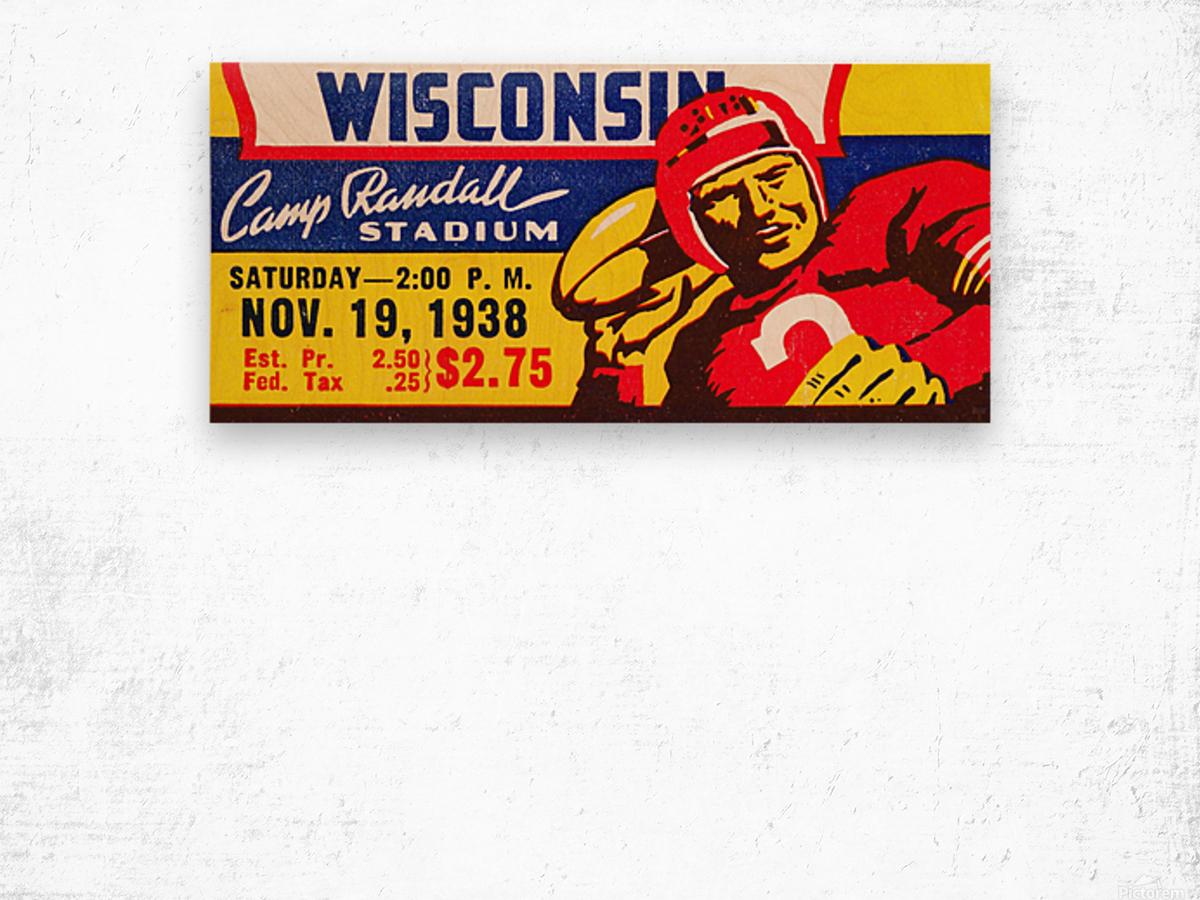 1938 Wisconsin Badgers Football Ticket Remix Art Wood print