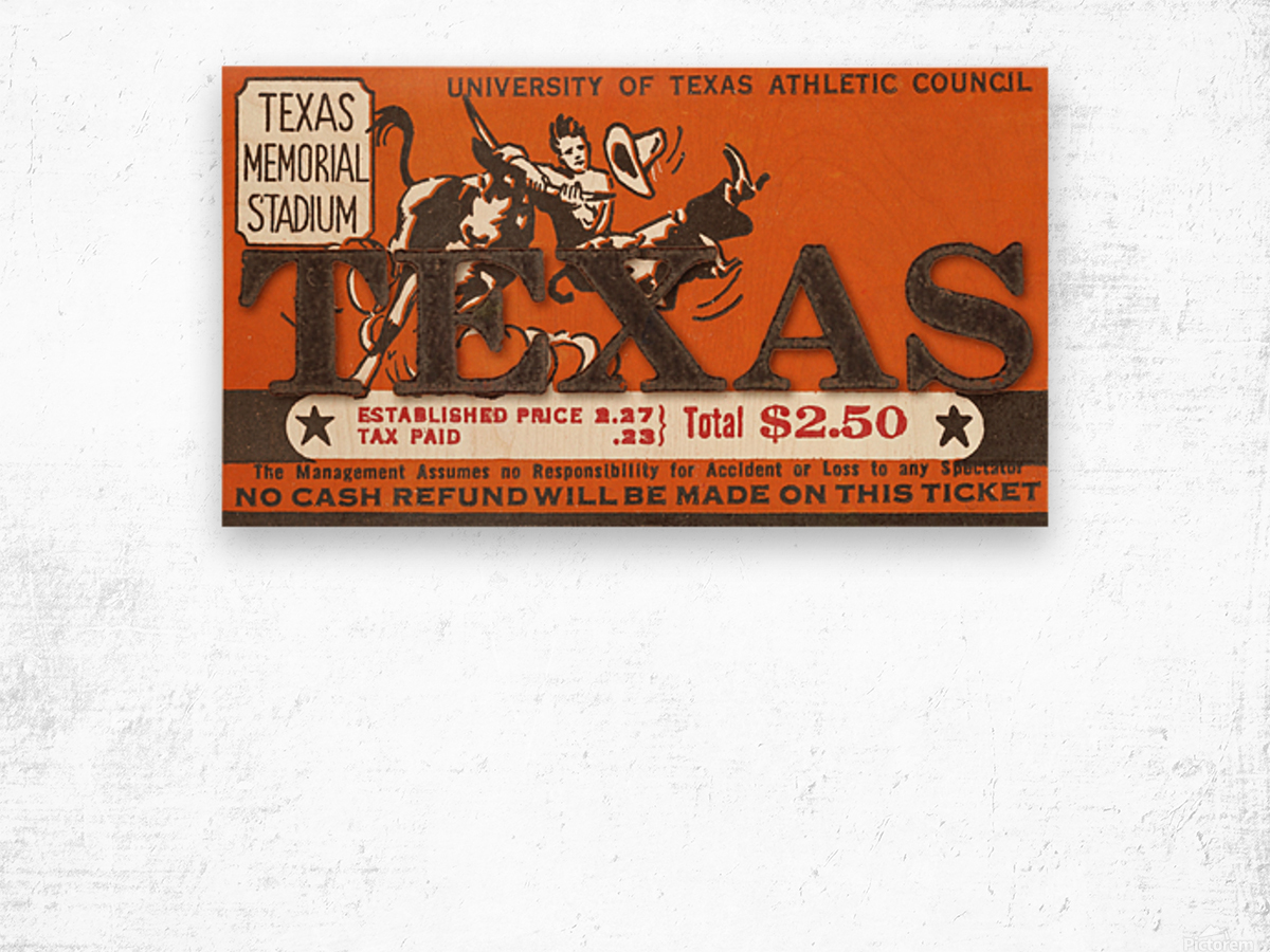 Vintage Thirties Texas Longhorn Football Ticket Remix Art Wood print