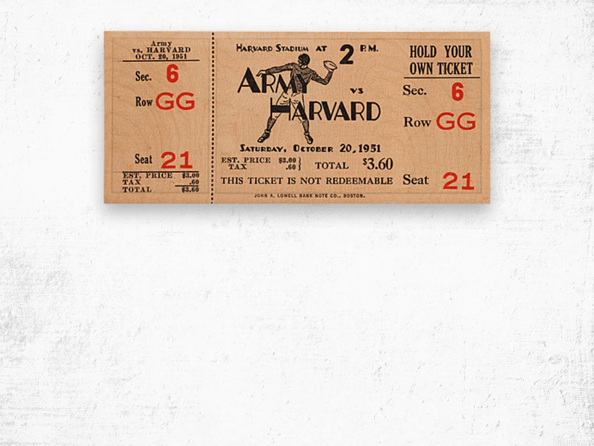 1951 Army vs. Harvard Football Ticket Art Wood print