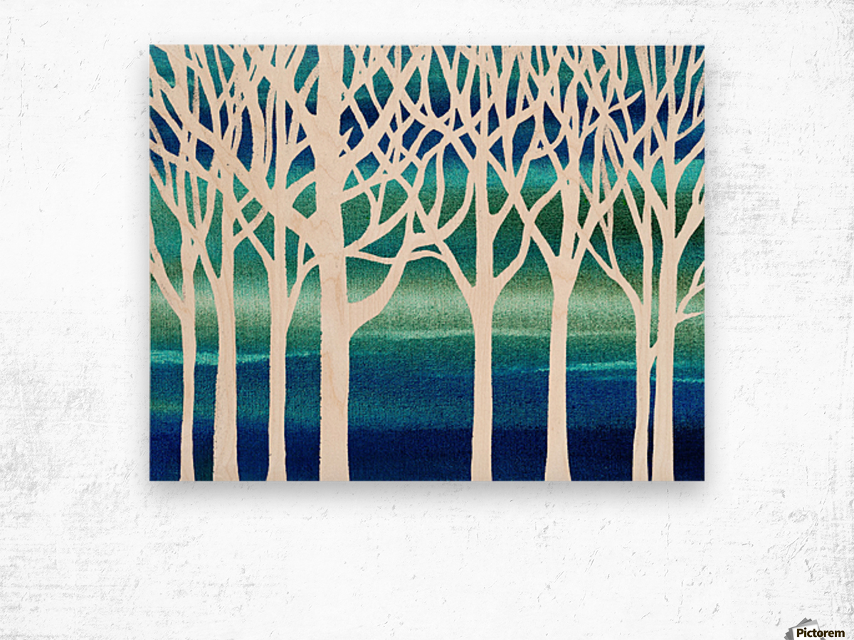 White And Teal Forest Wood print