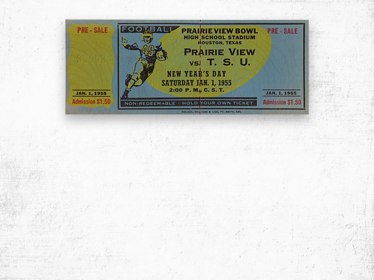 1955 Prairie View AM Panthers vs. Texas Southern Tigers Ticket Stub Art  Wood print