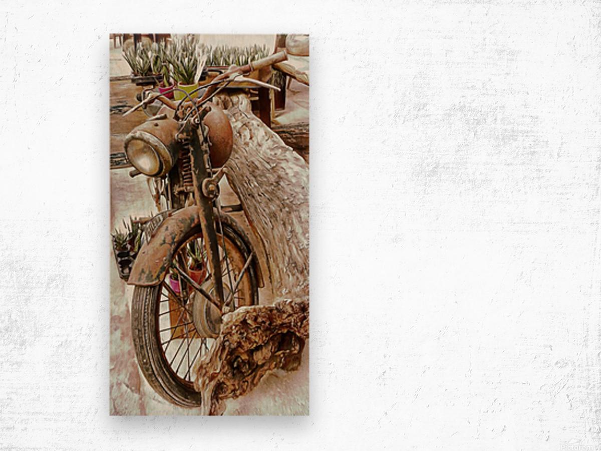 Old Rusty Motorbike Against Tree Stump Wood print