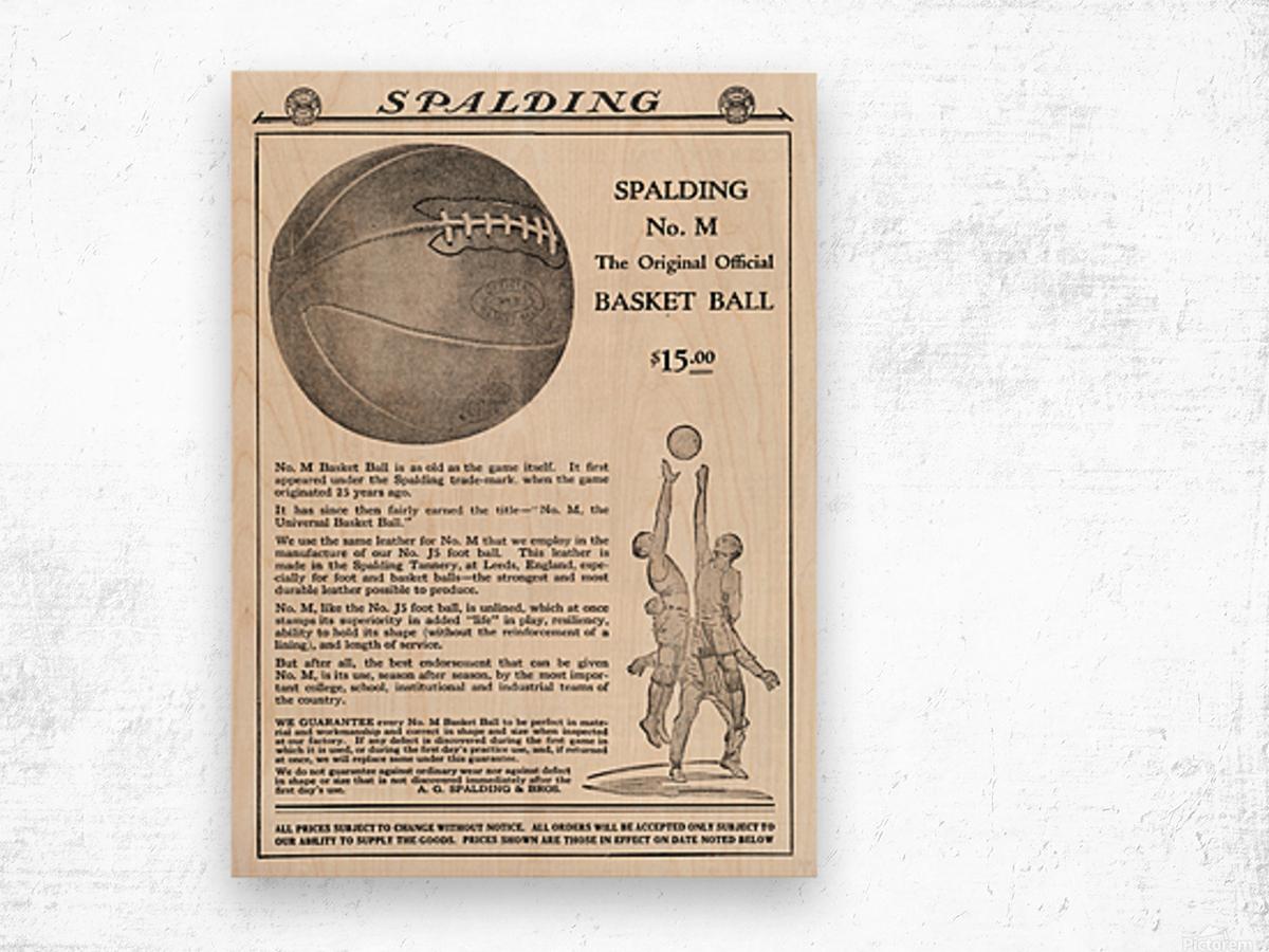 1921 Spalding Basketball Advertisement Poster Wood print