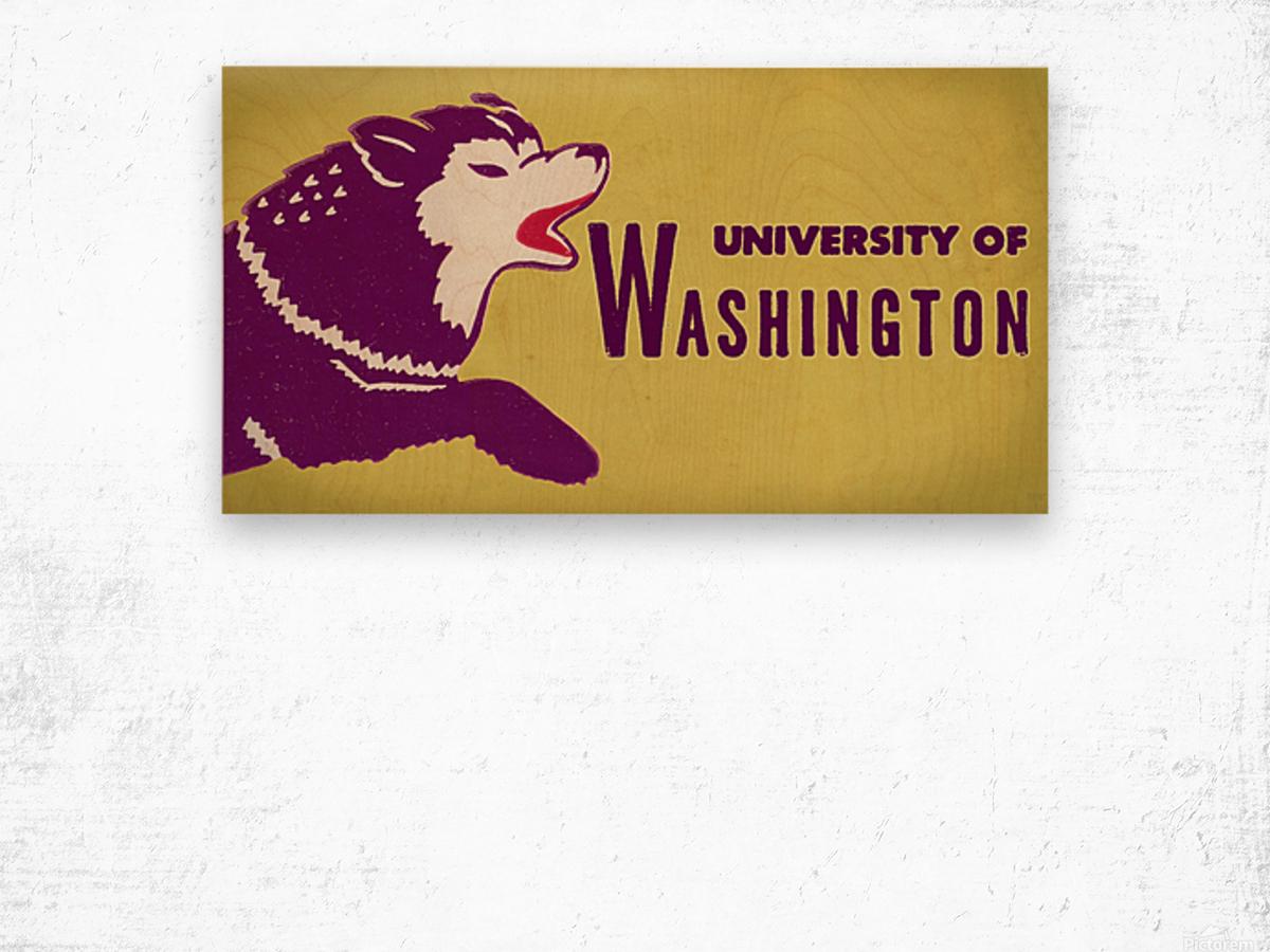 1950 Washington Husky Ticket Remix Art Wood print