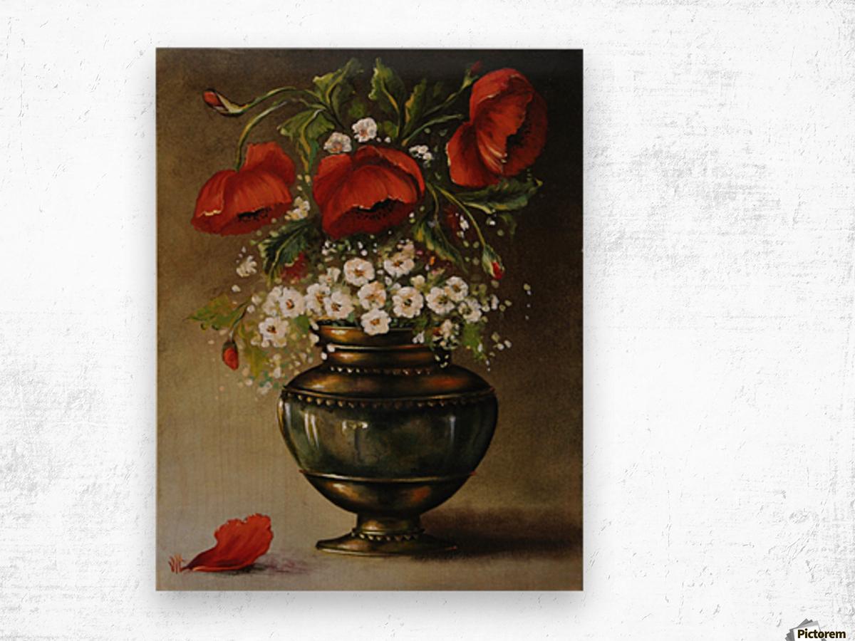 poppy bouqet by Vali Irina Ciobanu Wood print