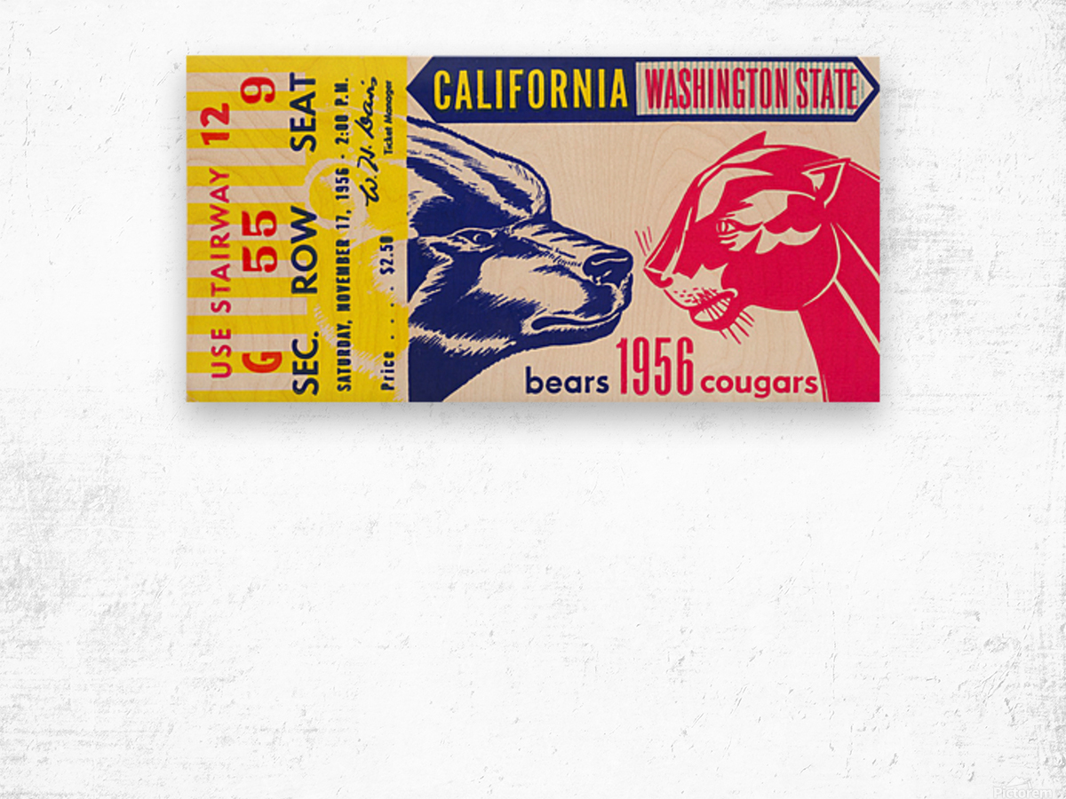 1956 Washington State Cougars vs. Cal Bears Wood print