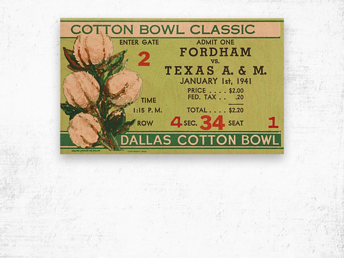 1941 Fordham vs. Texas AM Cotton Bowl Ticket Art Wood print