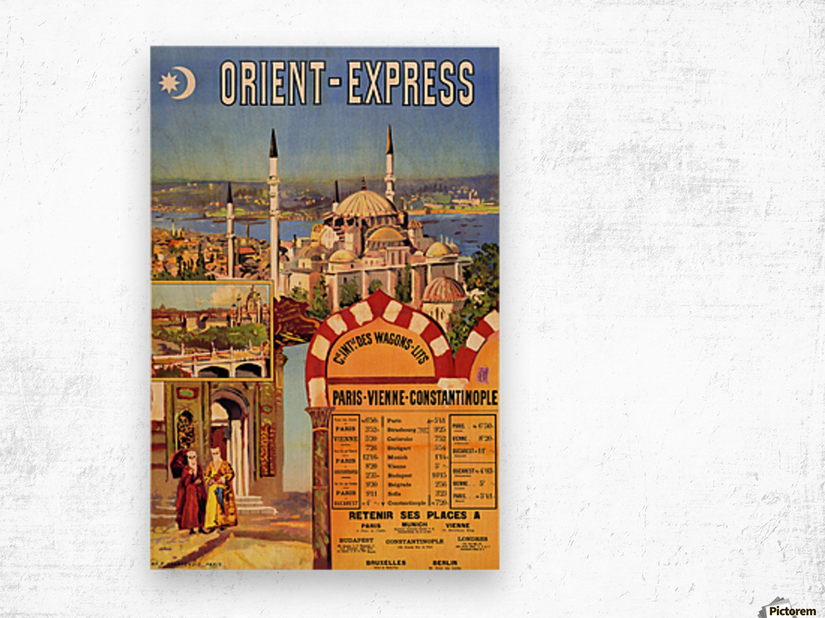 1891 Vintage Travel Poster Orient Express Ochoa y Madrazo Wood print