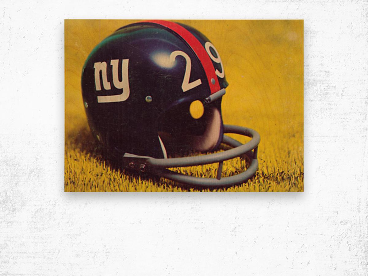1969 New York Giants Vintage Football Helmet Photo Art Wood print