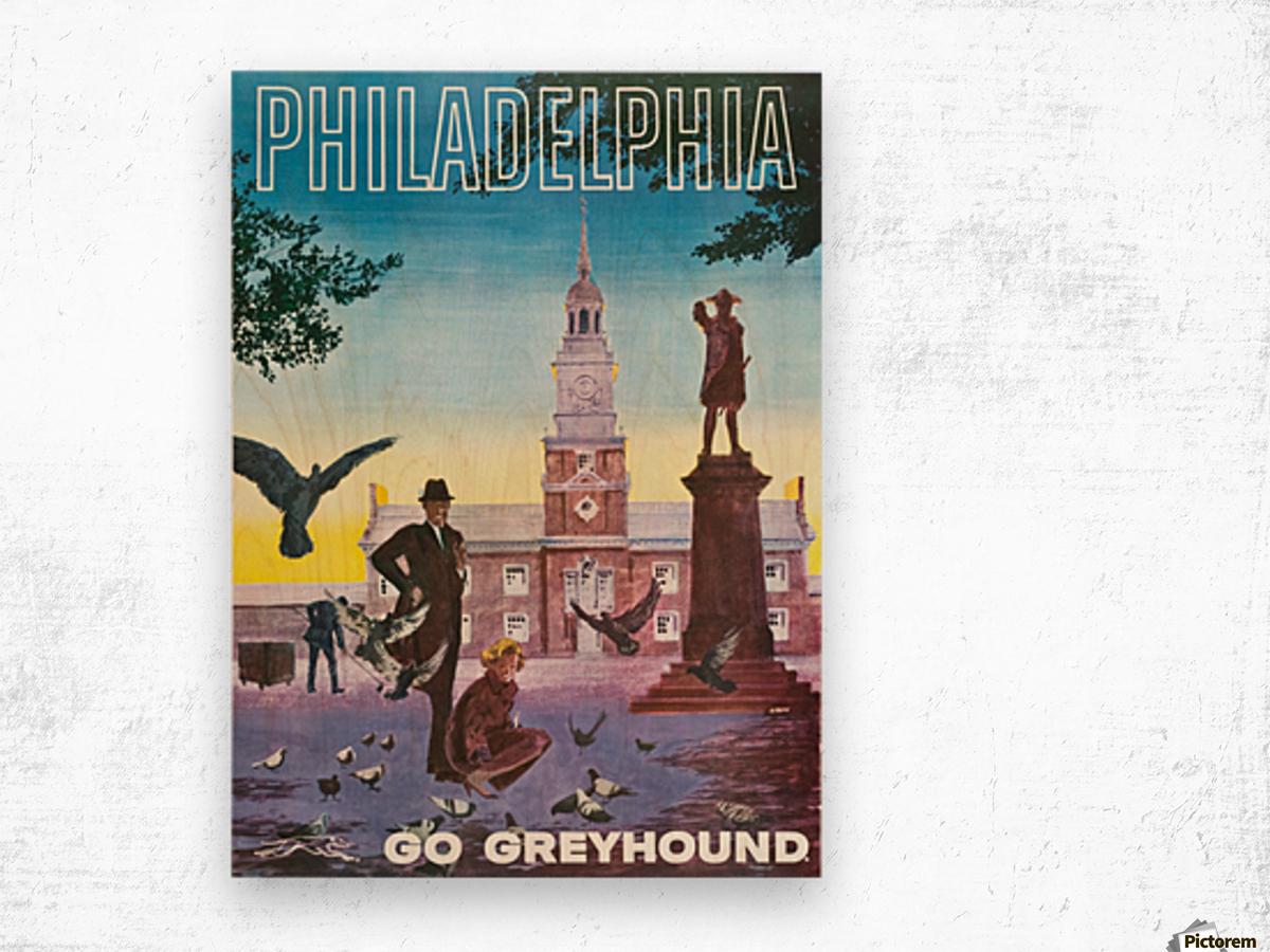 Greyhound Bus Travel Poster for Philadelphia Impression sur bois